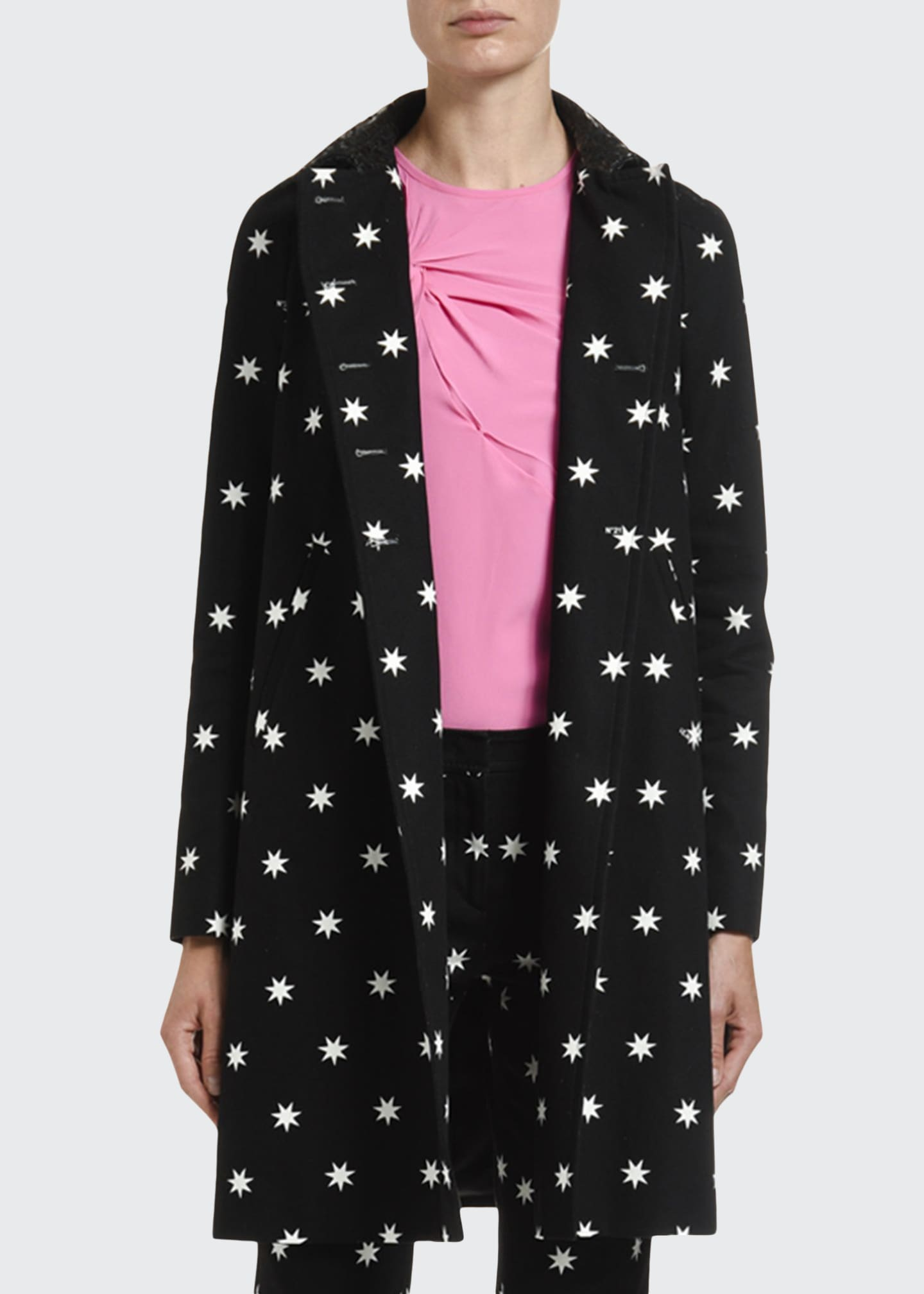 Image 1 of 4: Star-Print A-Line Coat w/ Laser-Cut Collar