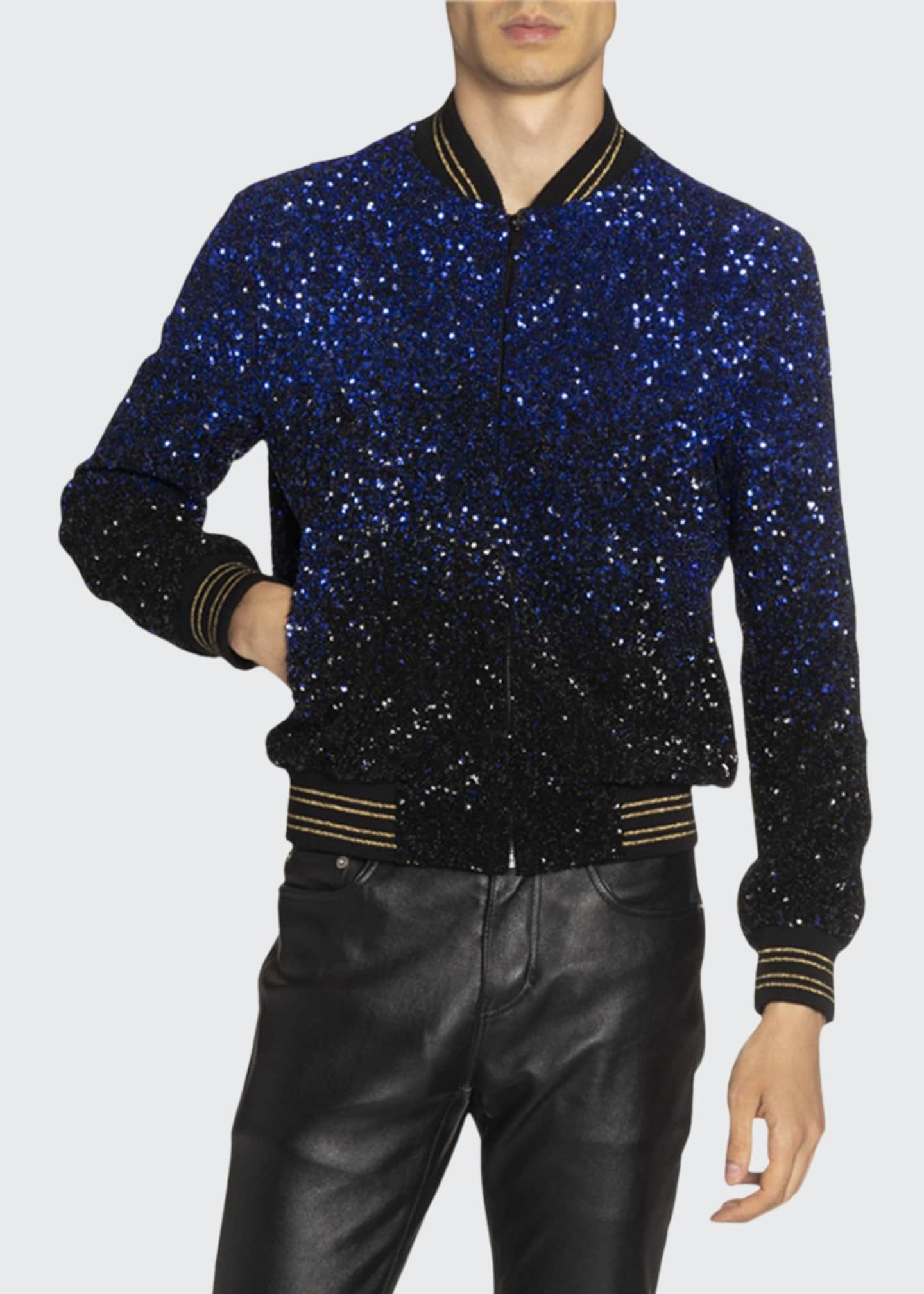 Image 1 of 4: Men's Teddy Gradient Sequined Jacket