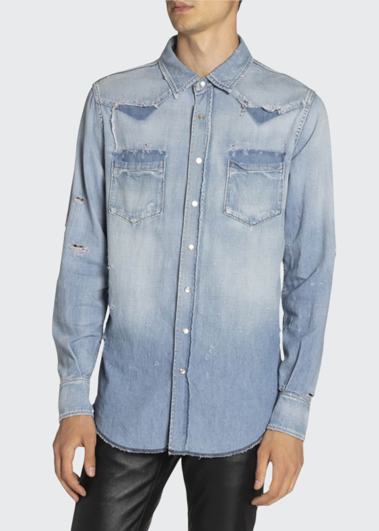 Image 1 of 3: Men's Destroyed Denim Western Shirt