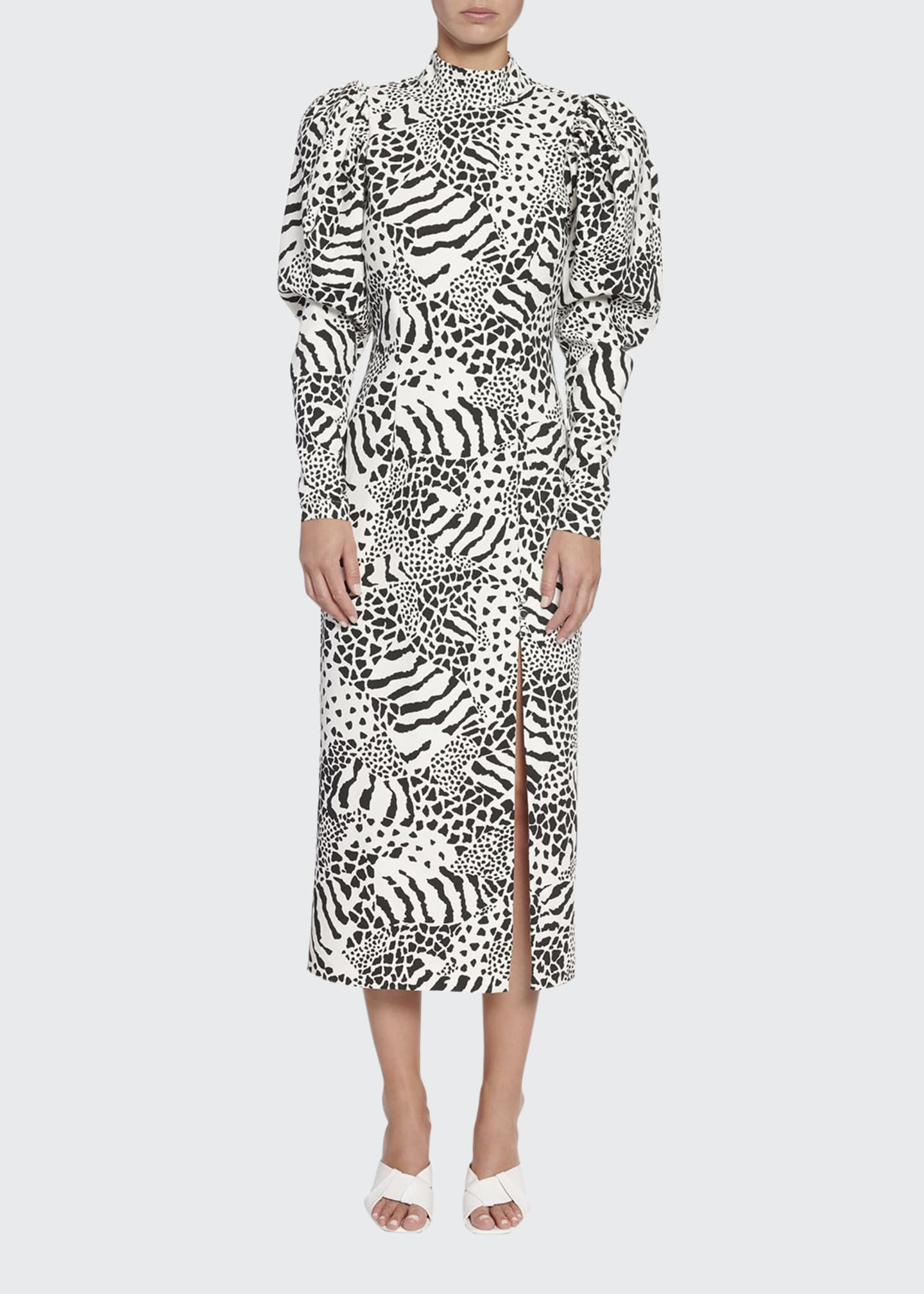 Rotate Birger Christensen Theresa Puff-Sleeve Animal-Print Midi
