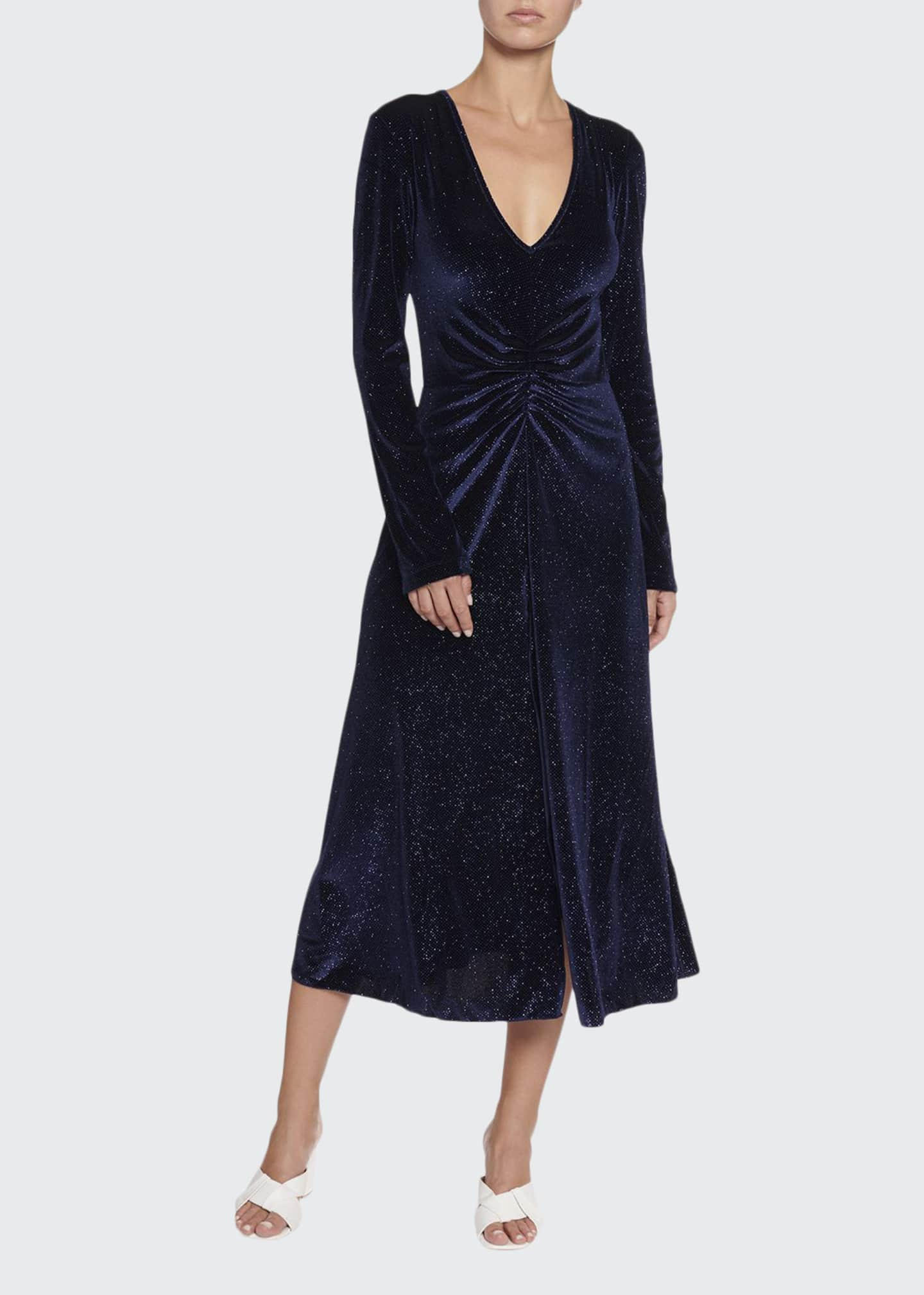 Rotate Birger Christensen Number 7 Velvet Metallic Long-Sleeve