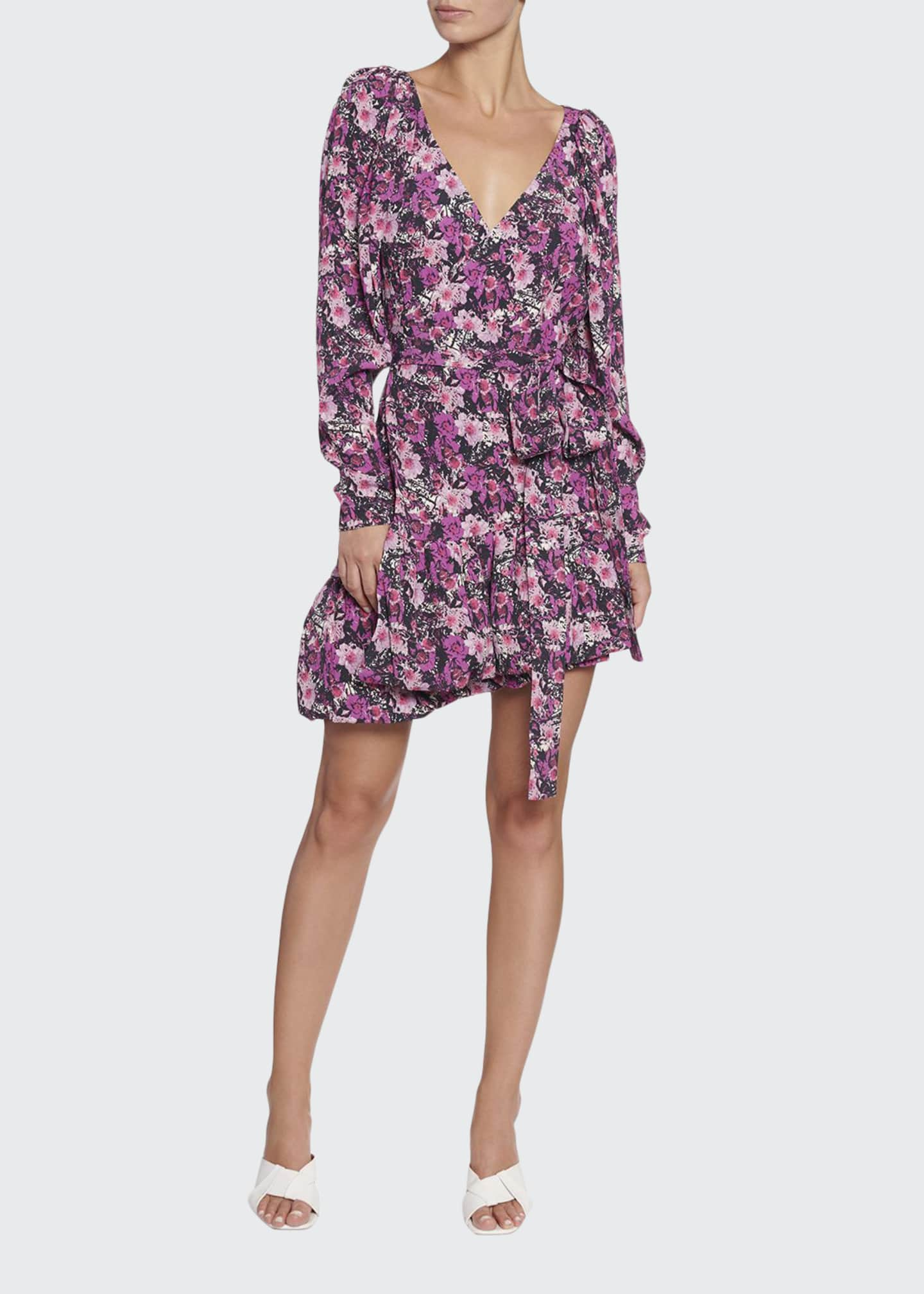 Image 1 of 2: Nancy Floral Long-Sleeve Flounce Dress