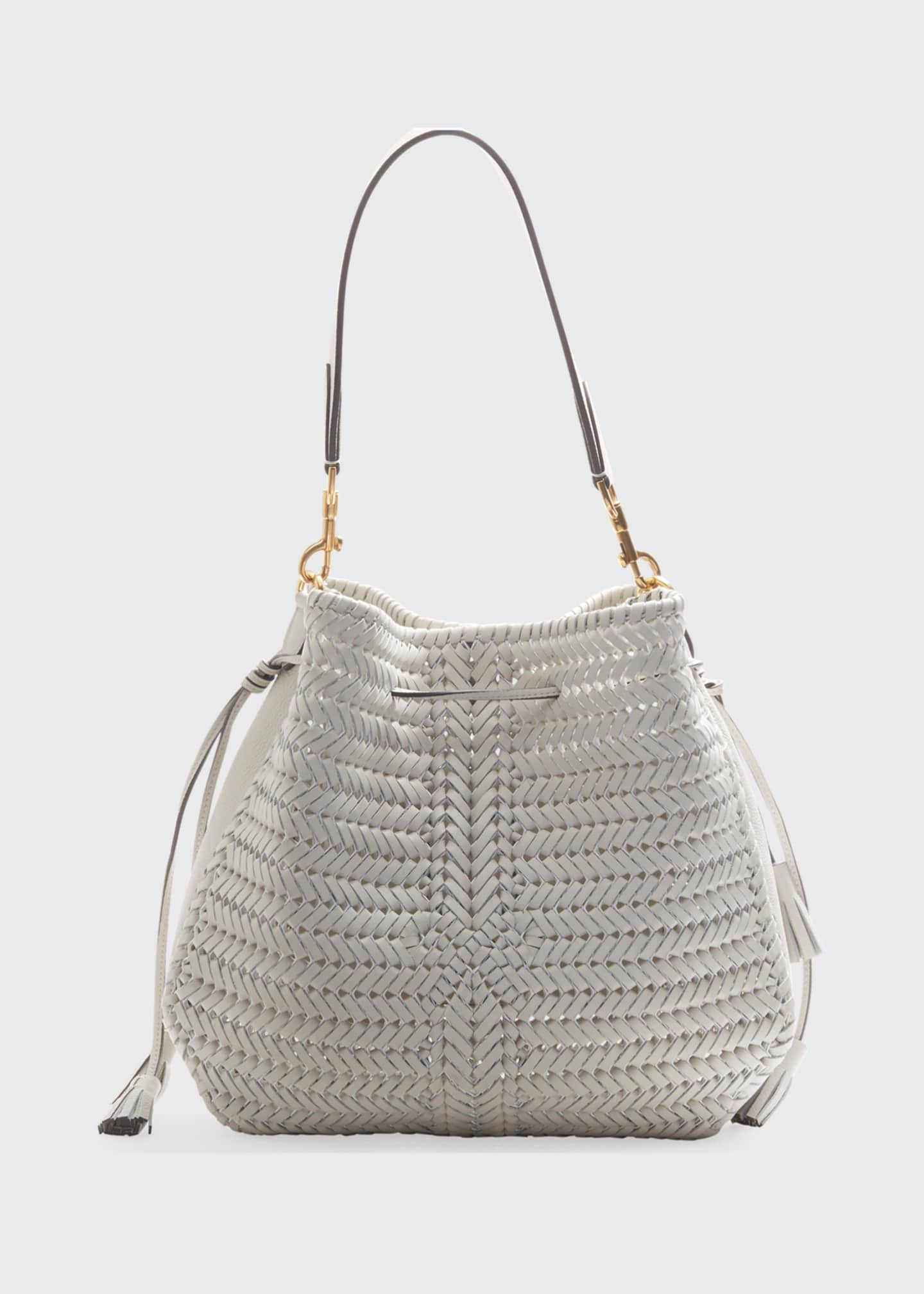 Anya Hindmarch The Neeson Braided Hobo Bag, White