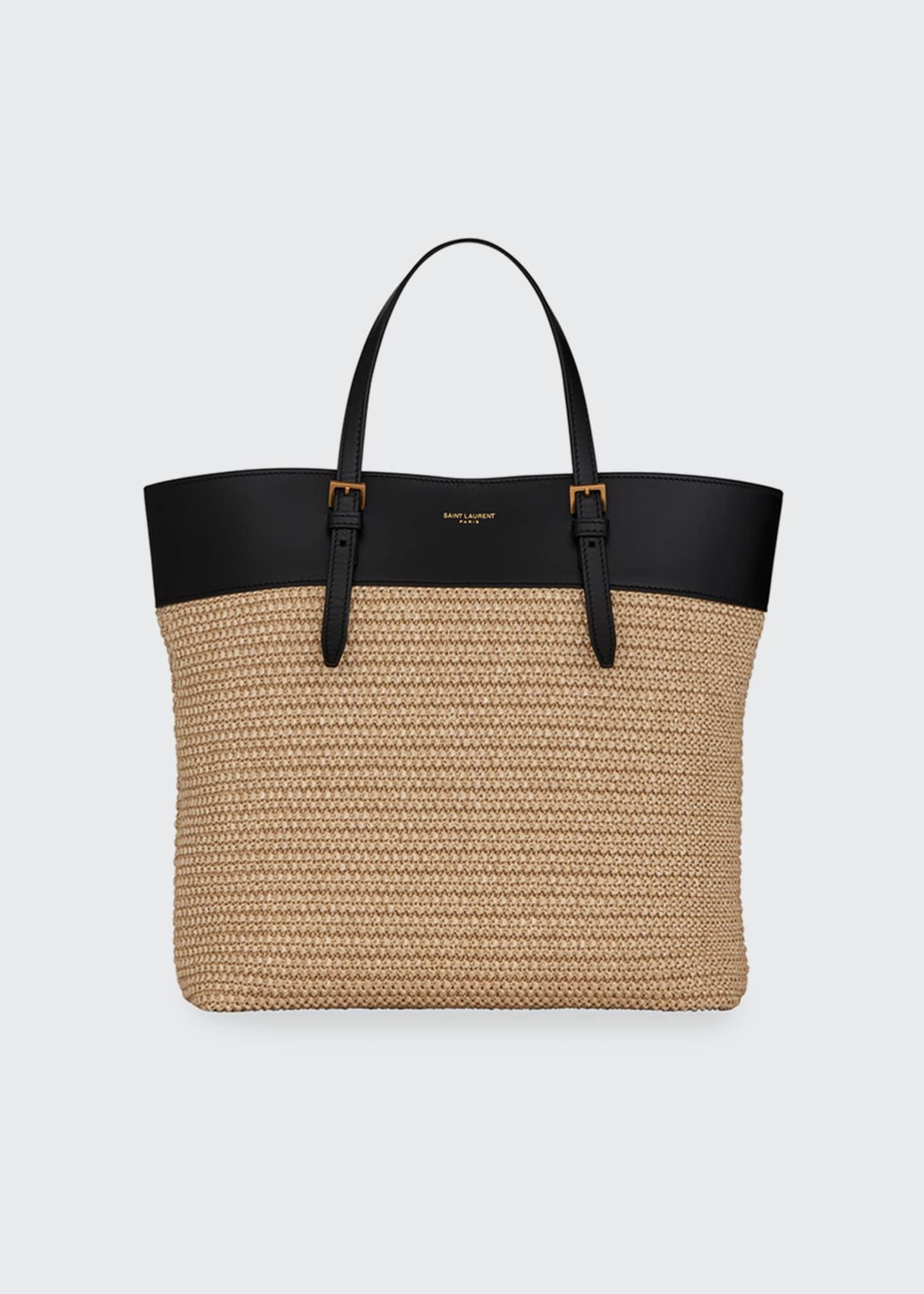 Saint Laurent YSL Raffia Small Shopper Tote Bag