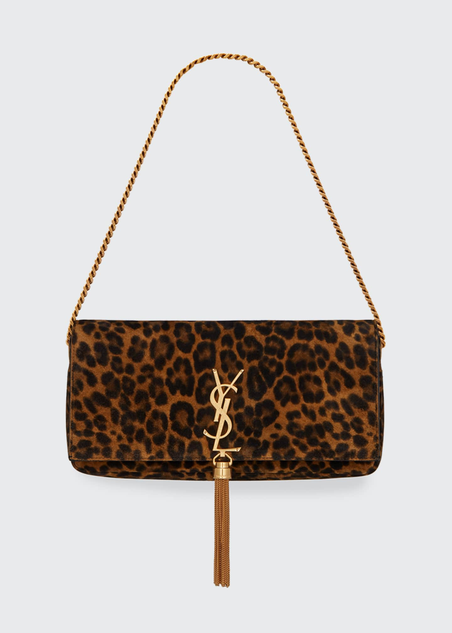 Saint Laurent Kate Baguette YSL Monogram Leopard Shoulder