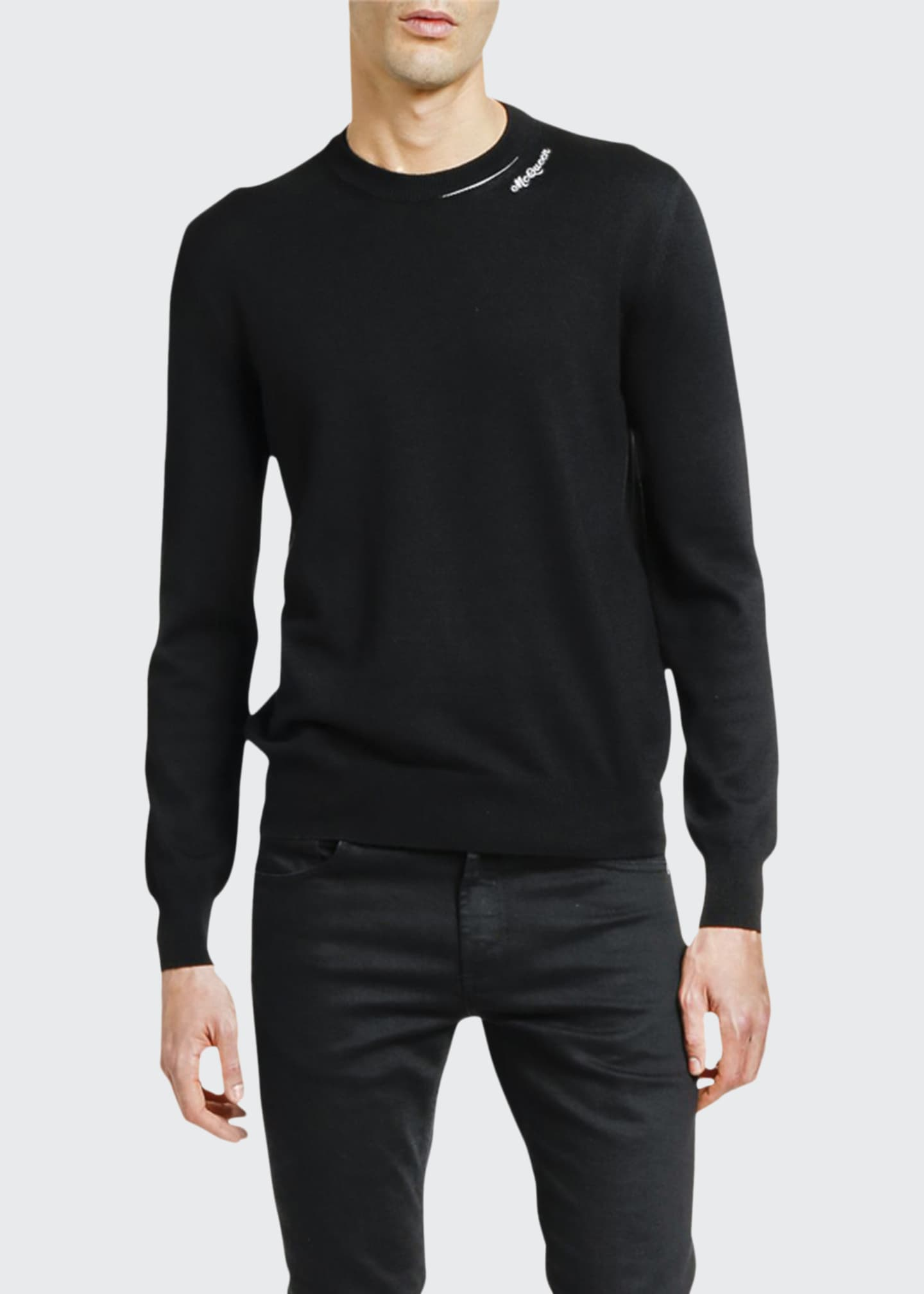 Image 1 of 2: Men's Solid Crewneck Sweater w/ Slashed Neck
