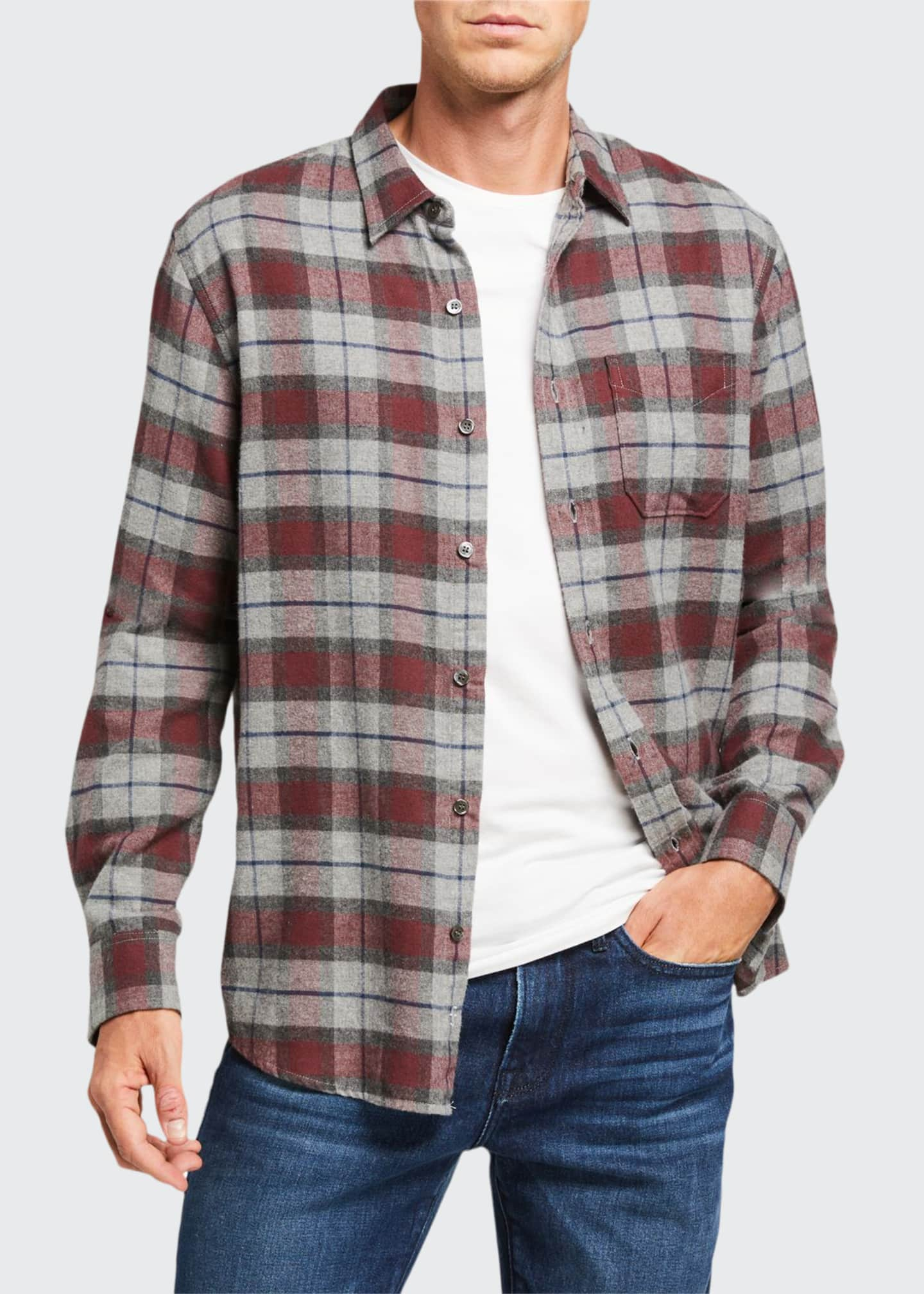 FRAME Men's Classic Brushed Plaid Sport Shirt