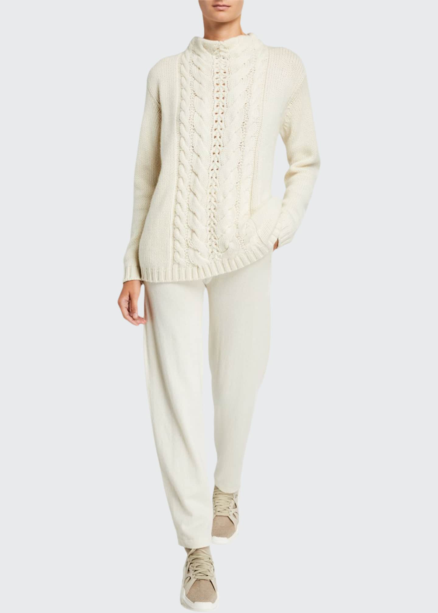 Image 1 of 3: Cashmere Cable-Knit Mock-Neck Sweater