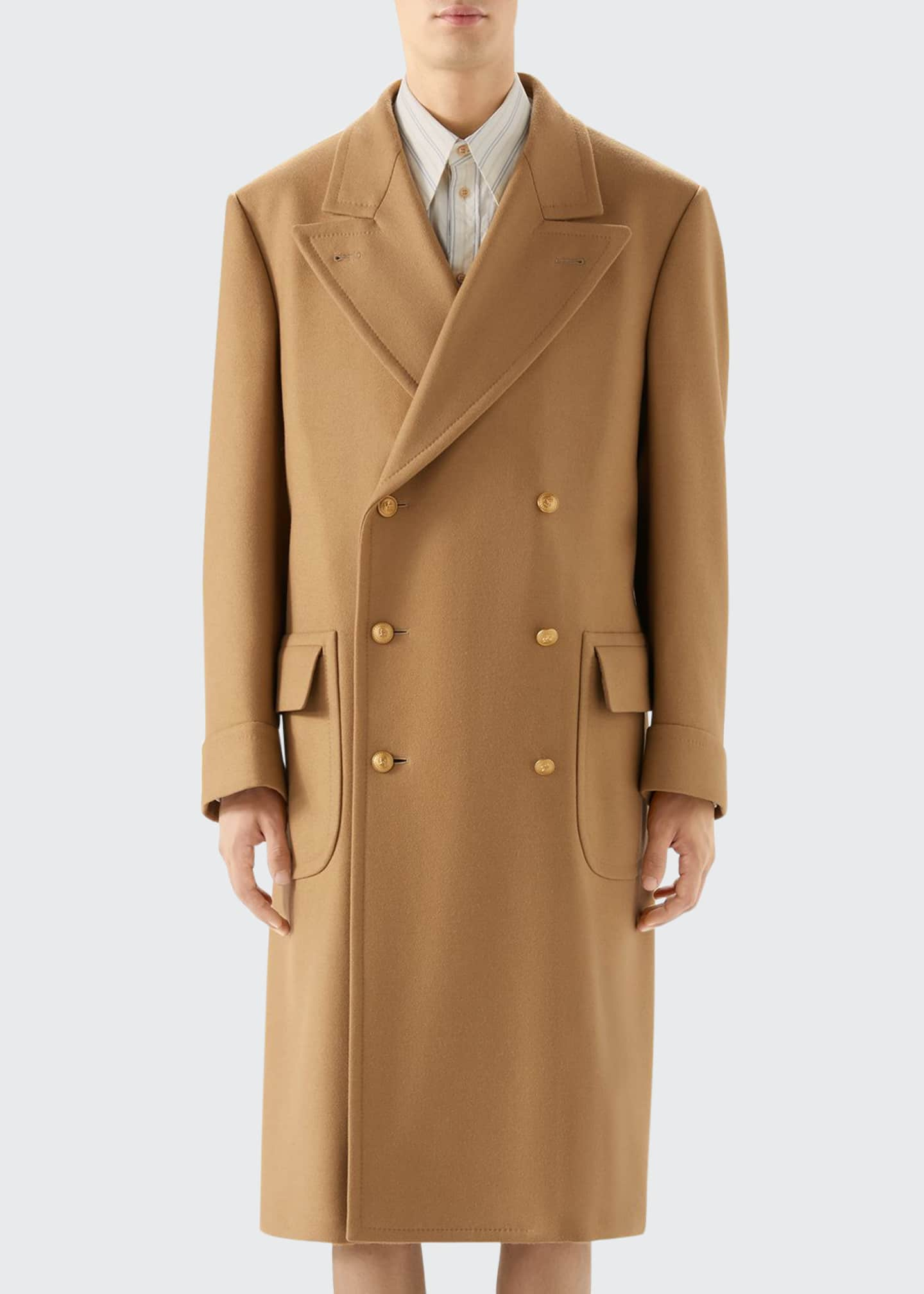 Image 1 of 2: Men's Double-Breasted Camel Coat