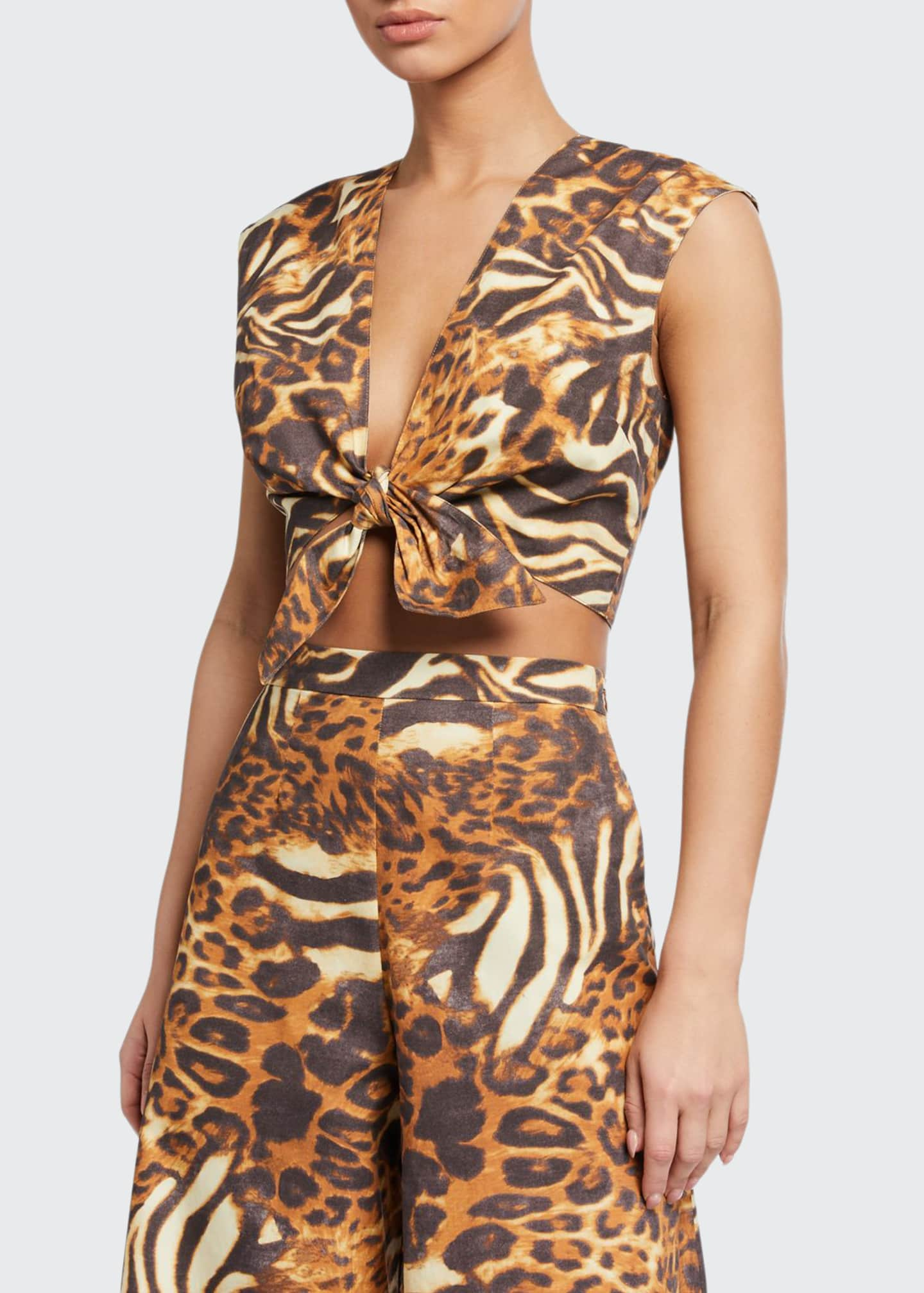 Image 1 of 2: Marcy Animal-Print Coverup Crop Top