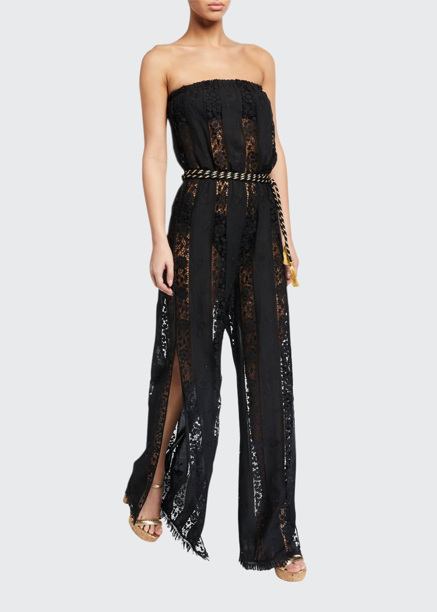 Image 1 of 2: Naima Strapless Lace Belted Jumpsuit