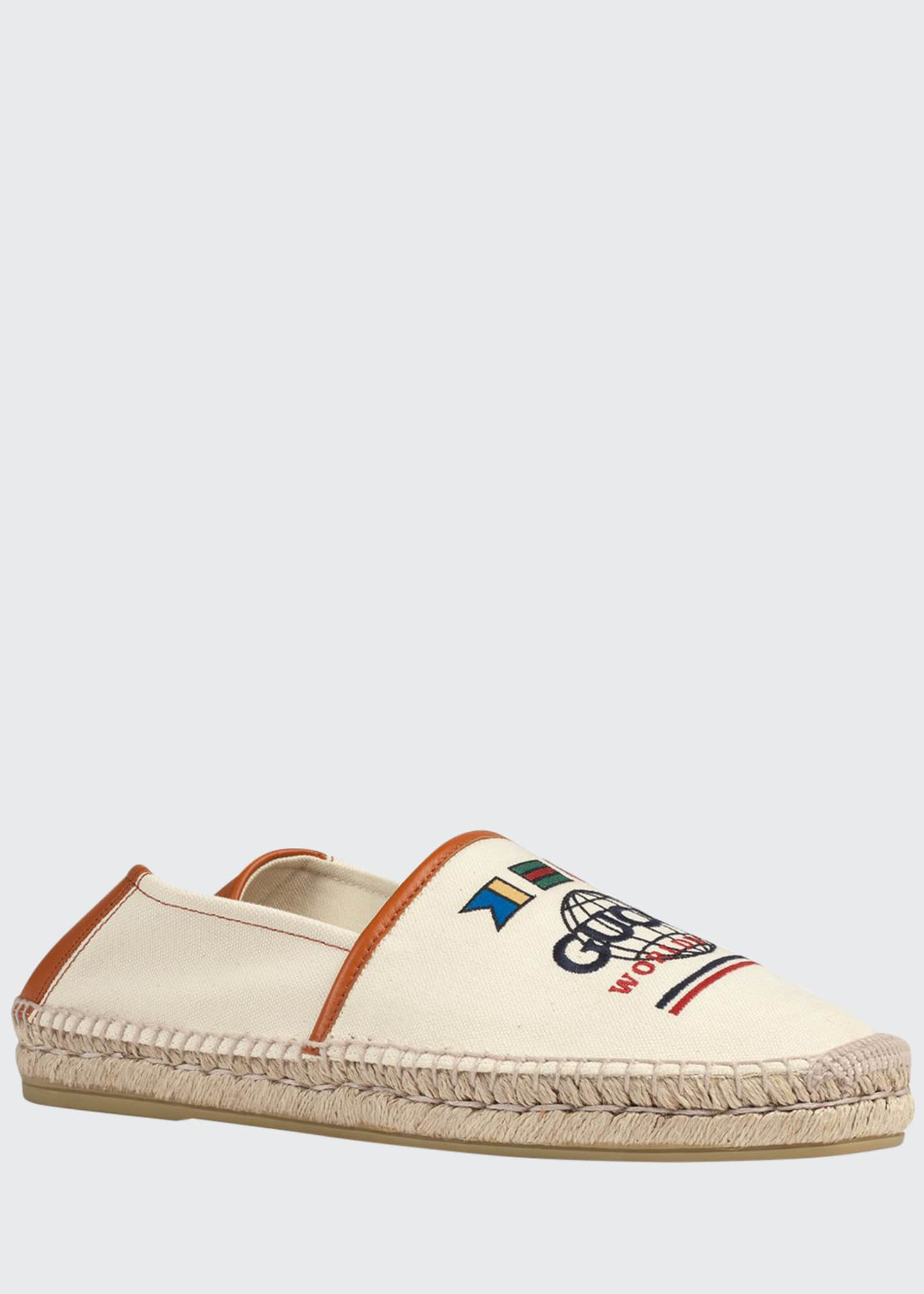 Gucci Men's Alejandro Worldwide Canvas/Leather Espadrilles