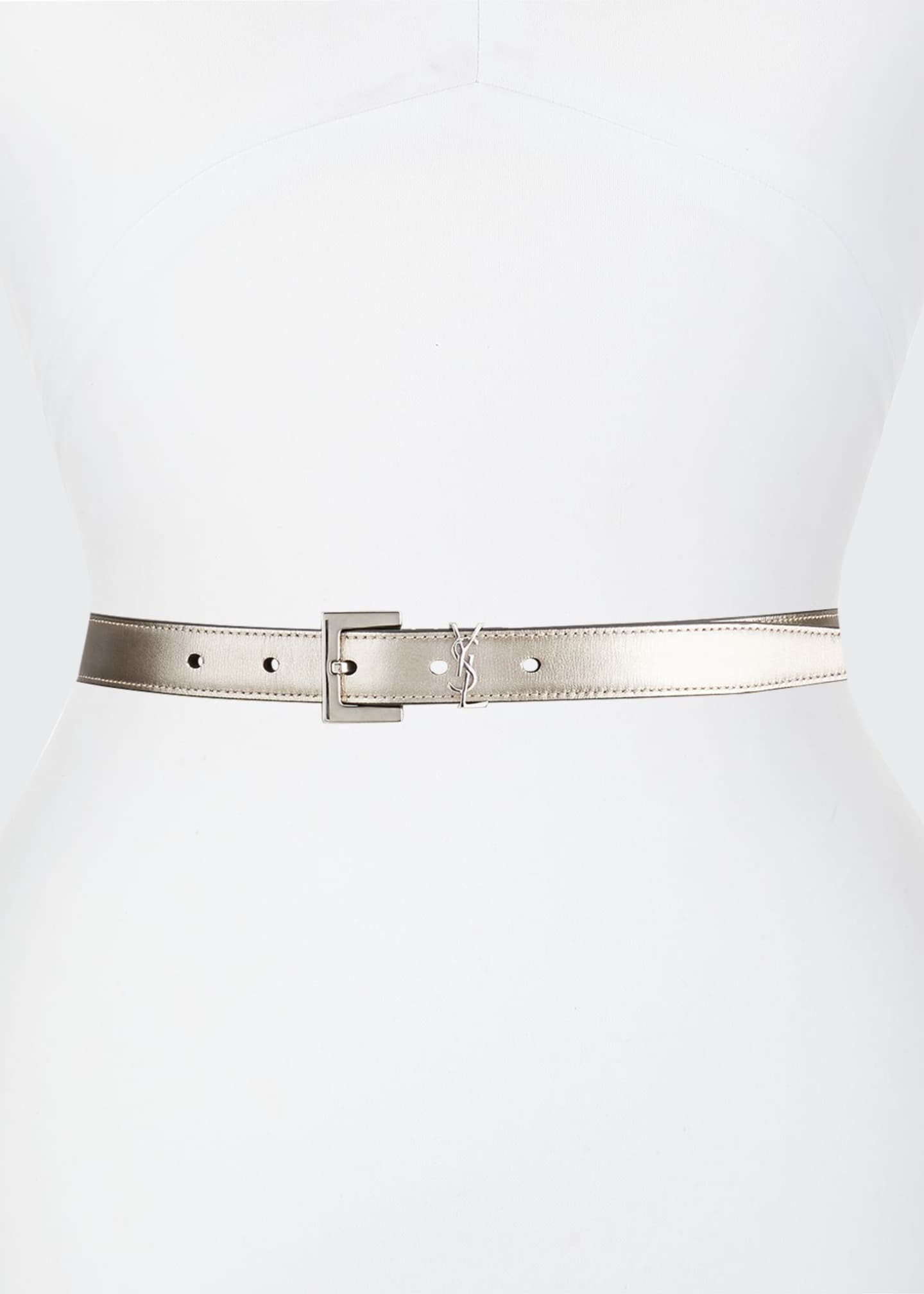 Image 1 of 1: Metallic Leather YSL Monogram Belt