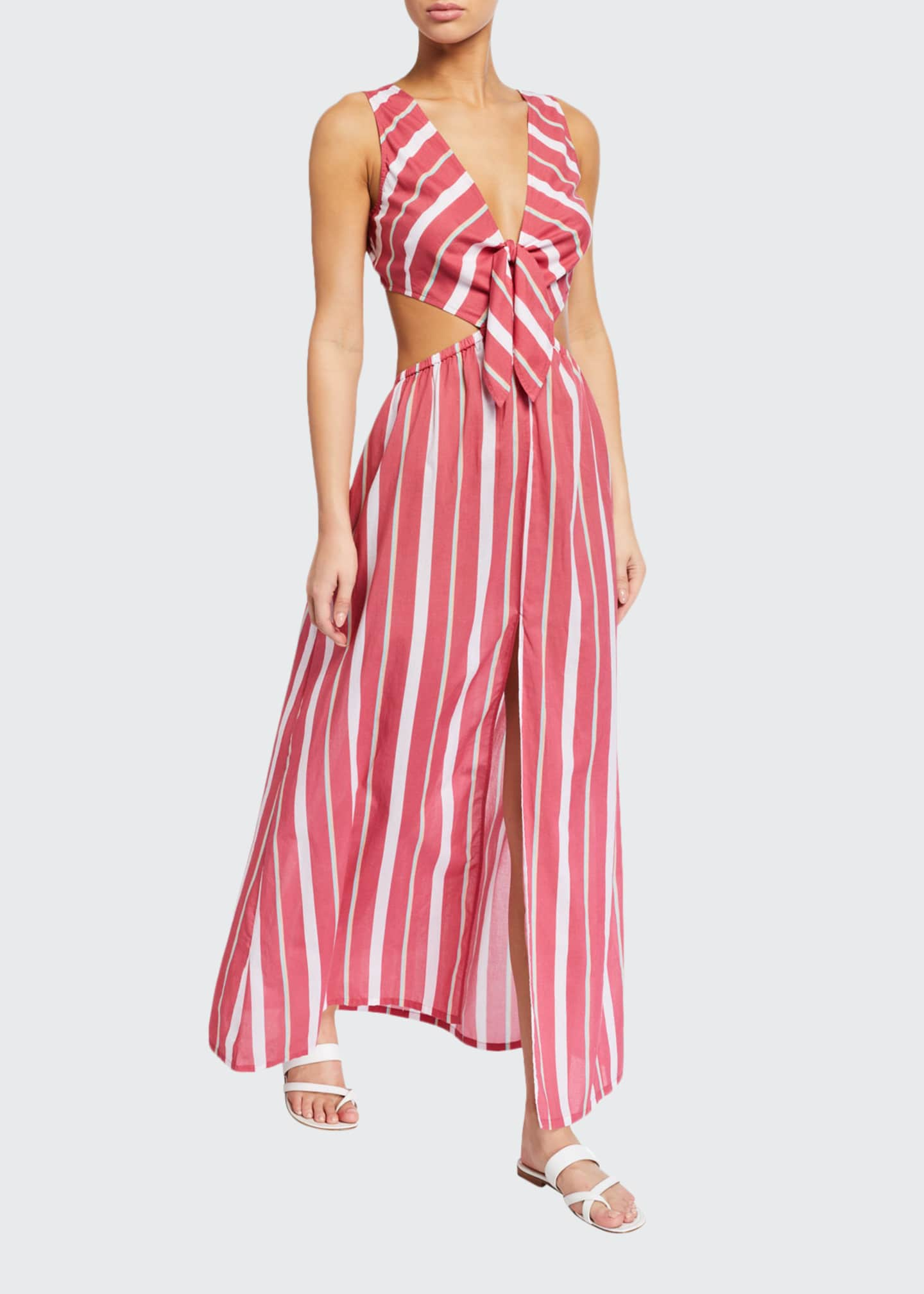 Image 1 of 2: Chile Striped Tie-Back Maxi Dress
