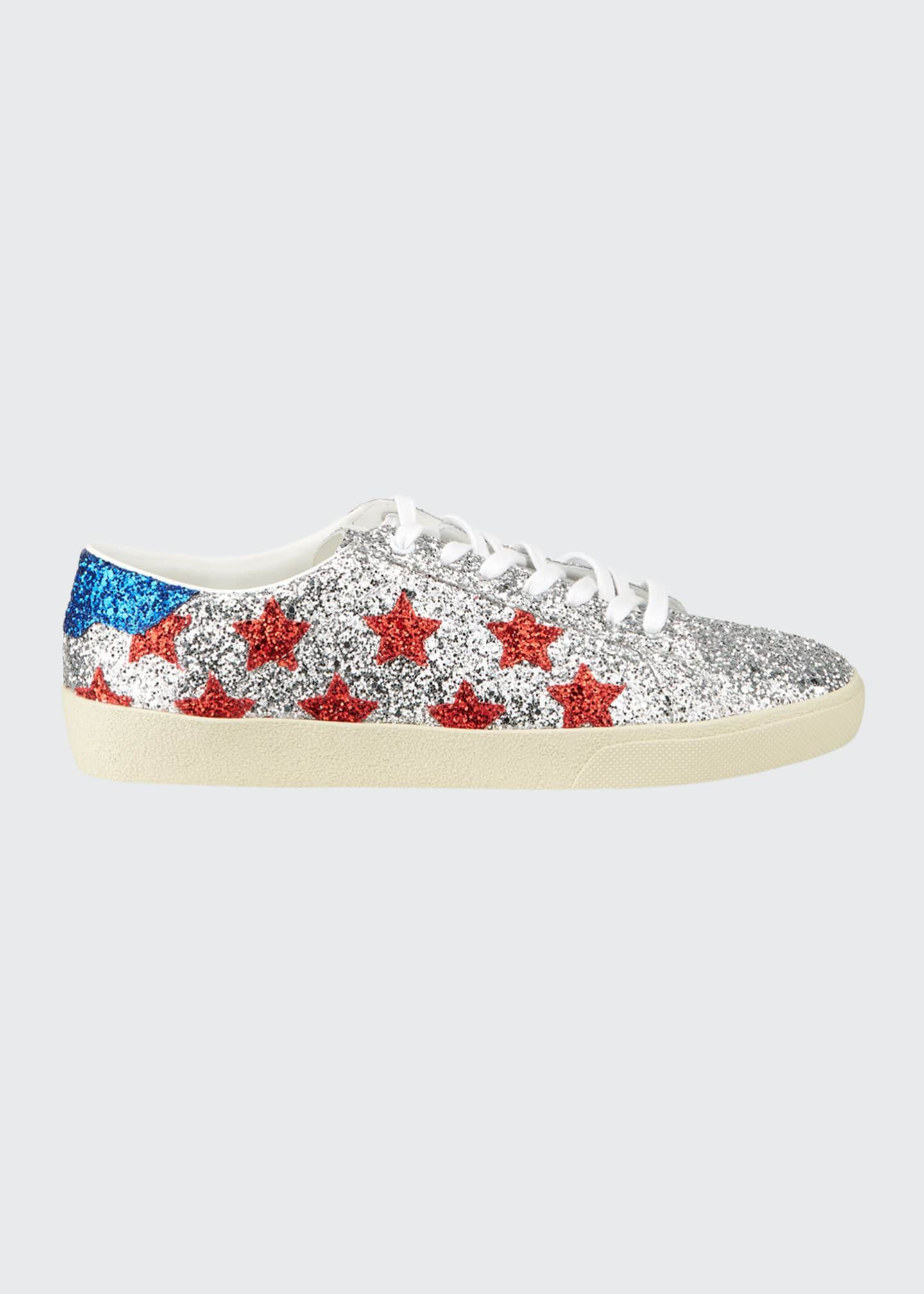 Image 1 of 4: Men's Court Allover Glitter Low-Top Sneakers