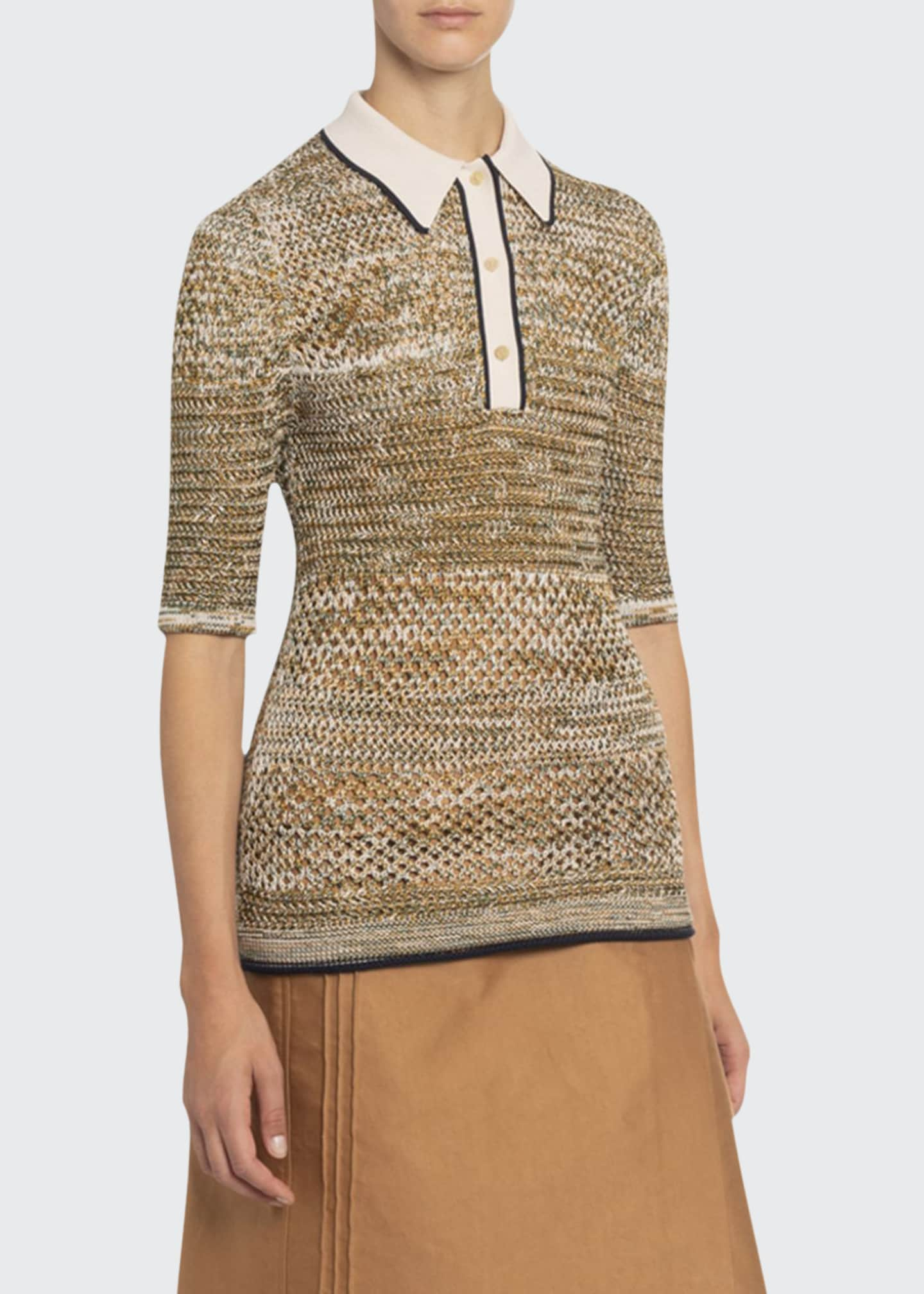 Image 1 of 2: Canework Knit Polo Sweater