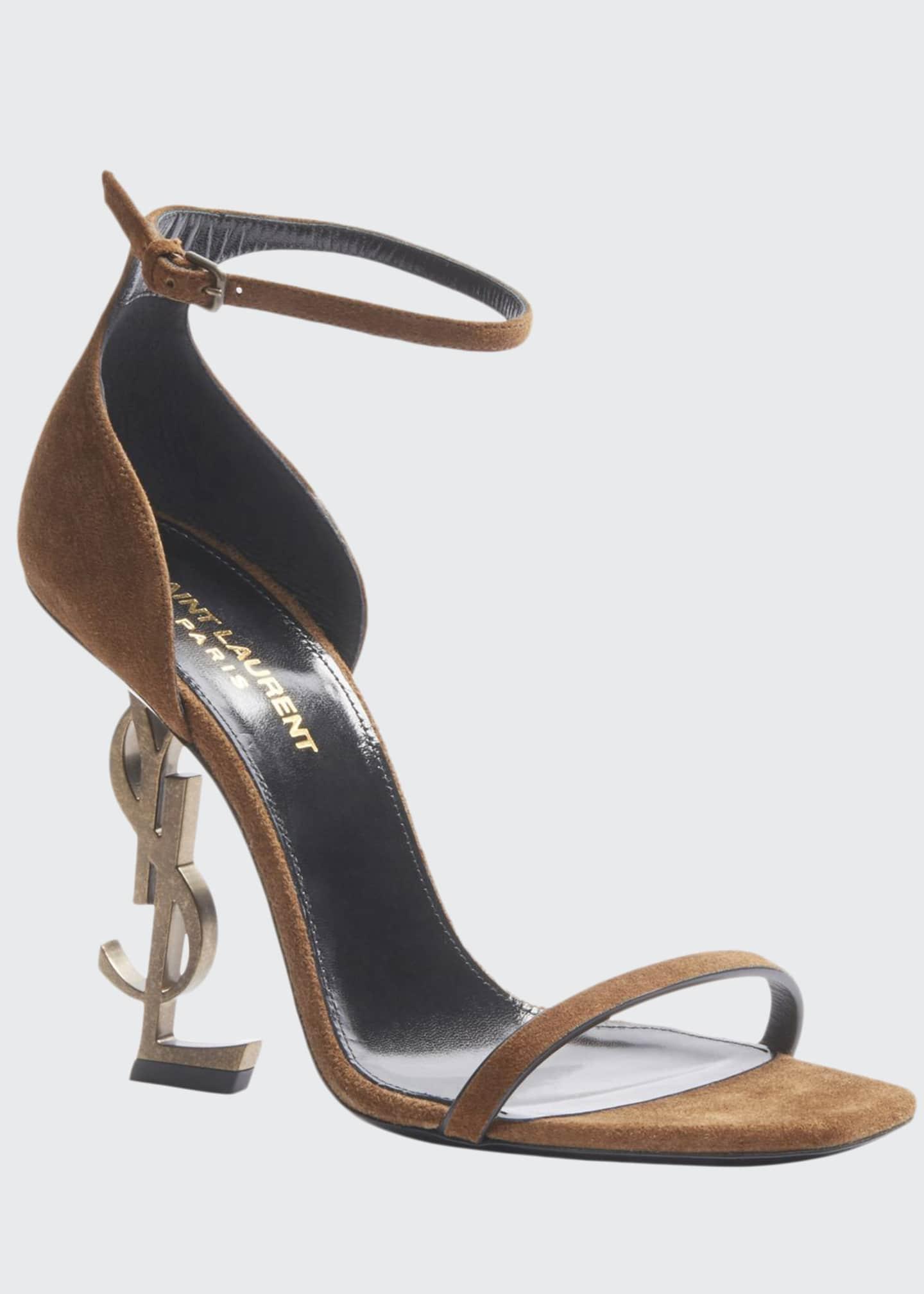 Saint Laurent Opyum Suede YSL Logo-Heel Sandals