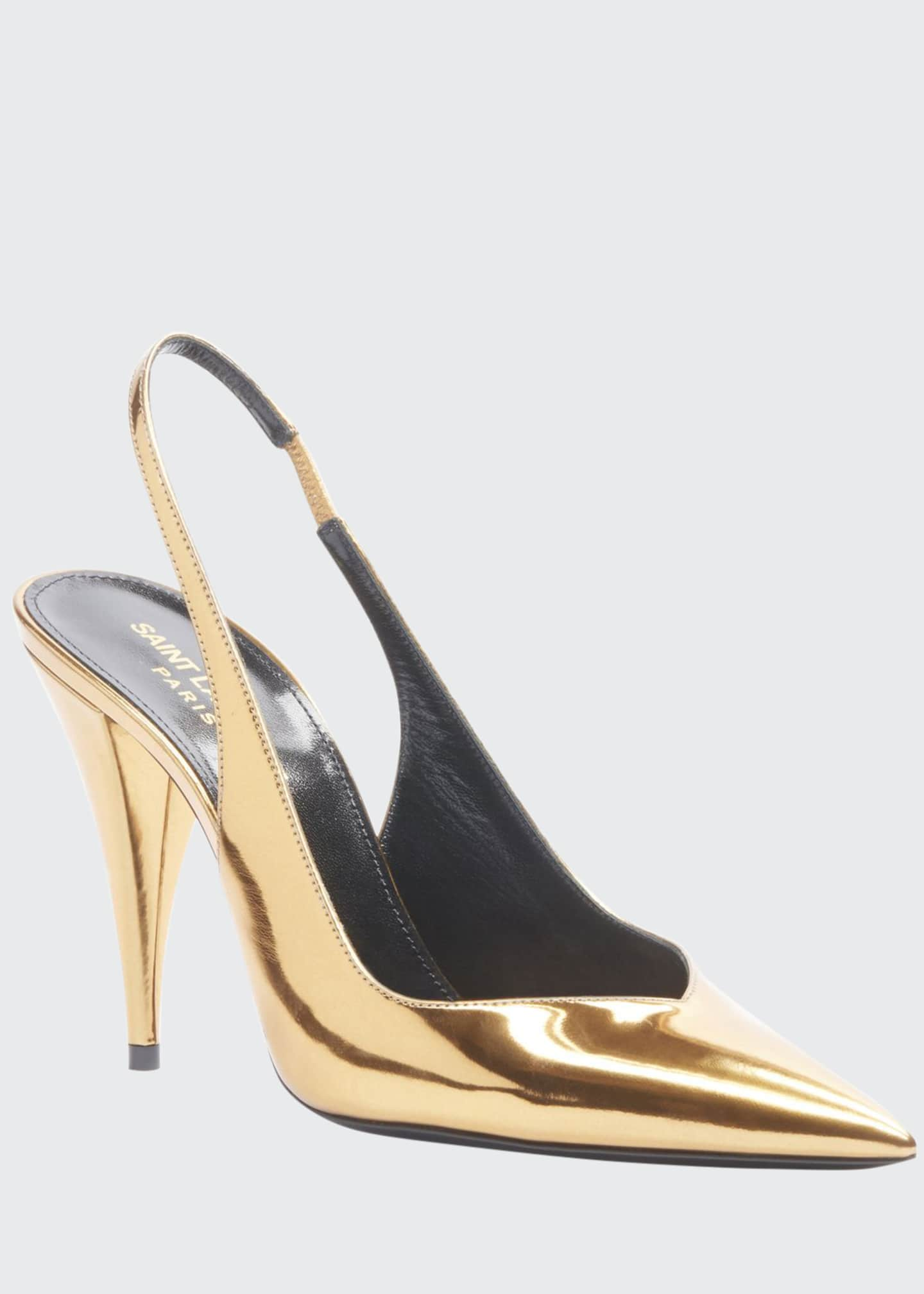 Saint Laurent Kiki Metallic Leather Slingback Pumps