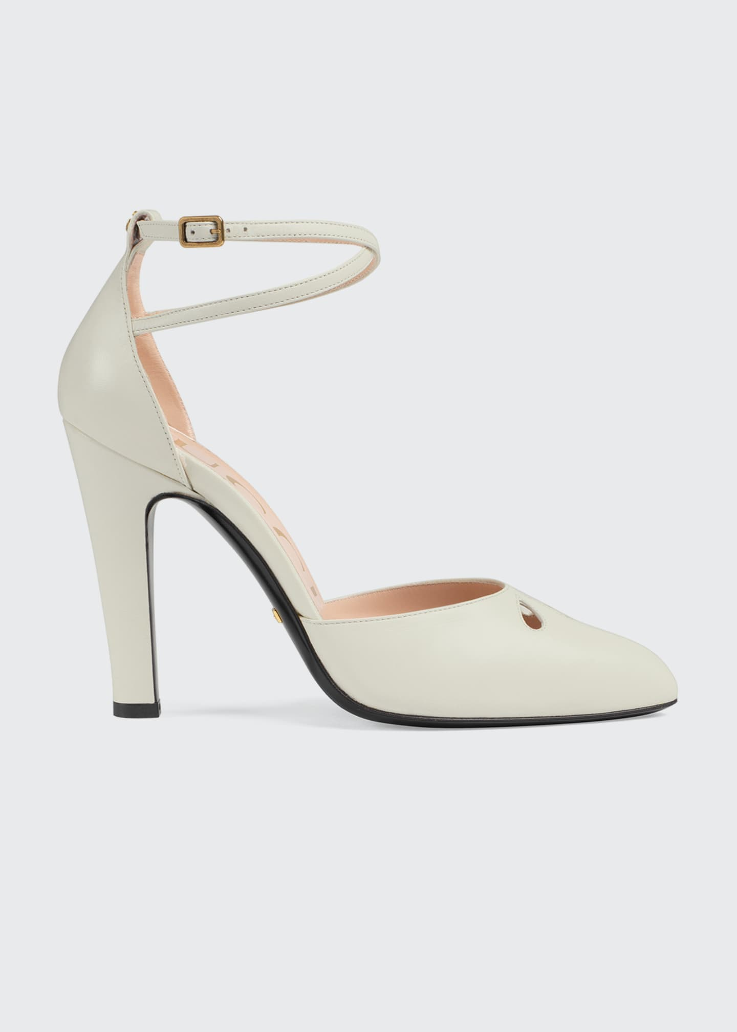 Gucci Indya 105mm Leather Ankle-Strap Pumps