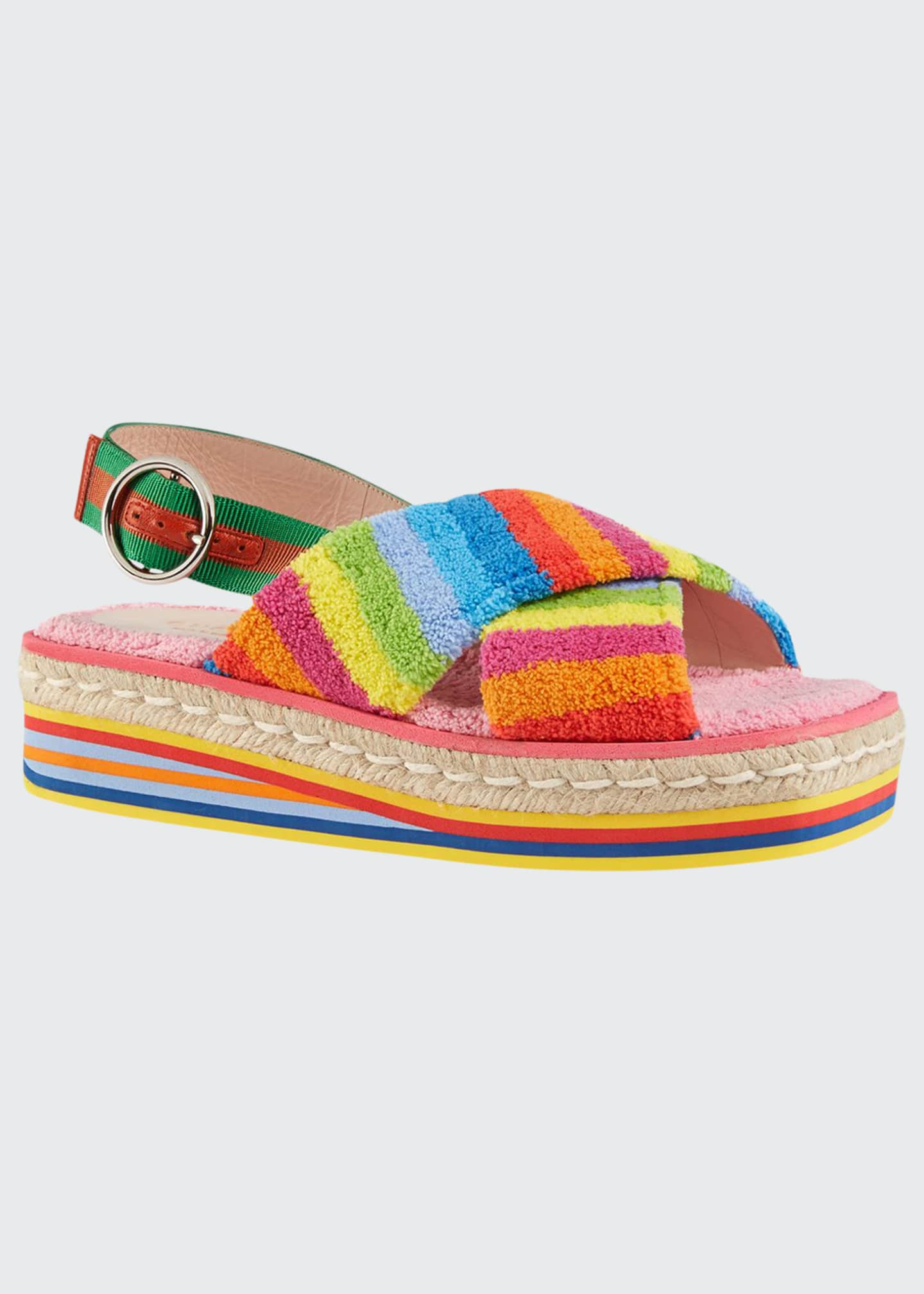 Gucci Huma 50mm Rainbow Sponge Wedge Sandals