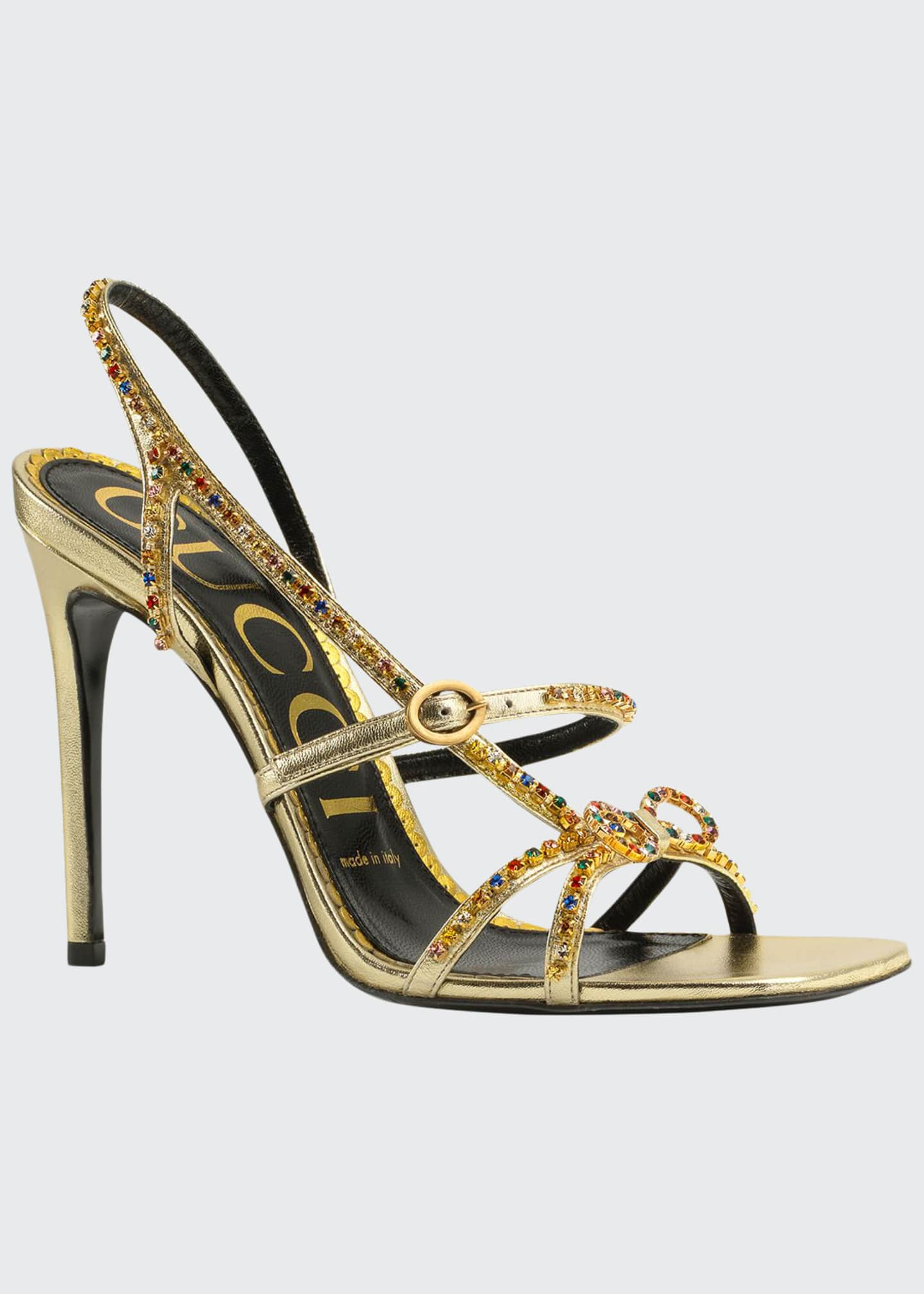 Image 1 of 4: Carmen 105mm Leather Sandals with Crystals