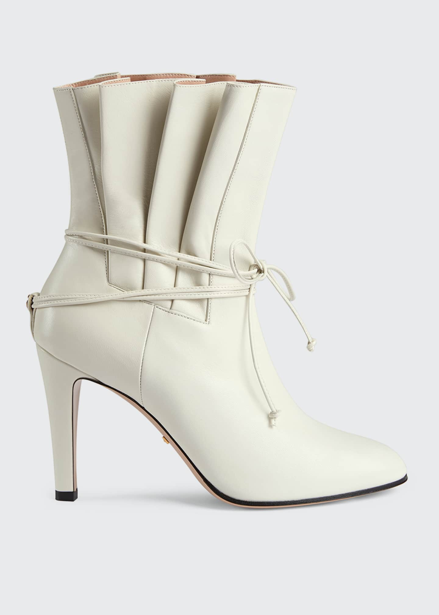 Gucci Indya 95mm Leather Pleated Tie Booties