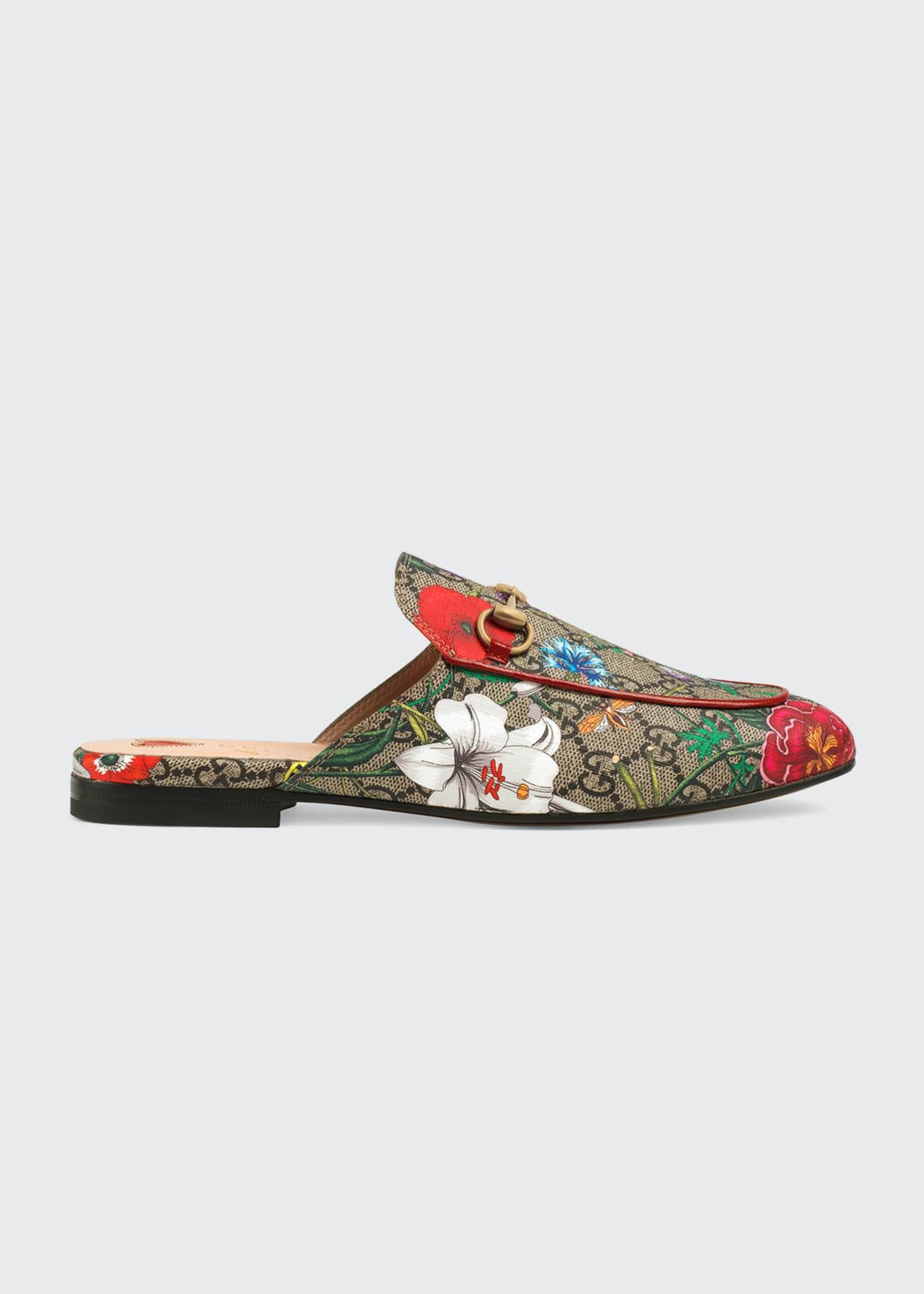 Gucci Princetown GG Supreme Flora Horsebit Mules