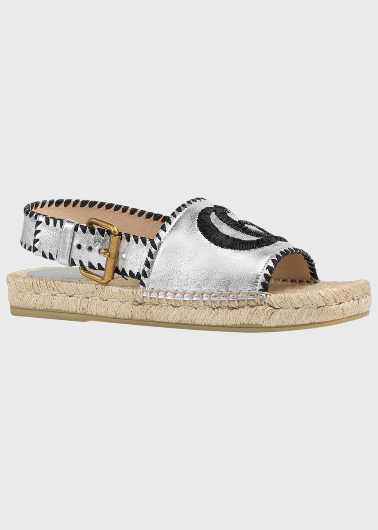 Gucci Pilar Square-Toe GG Espadrille Sandals