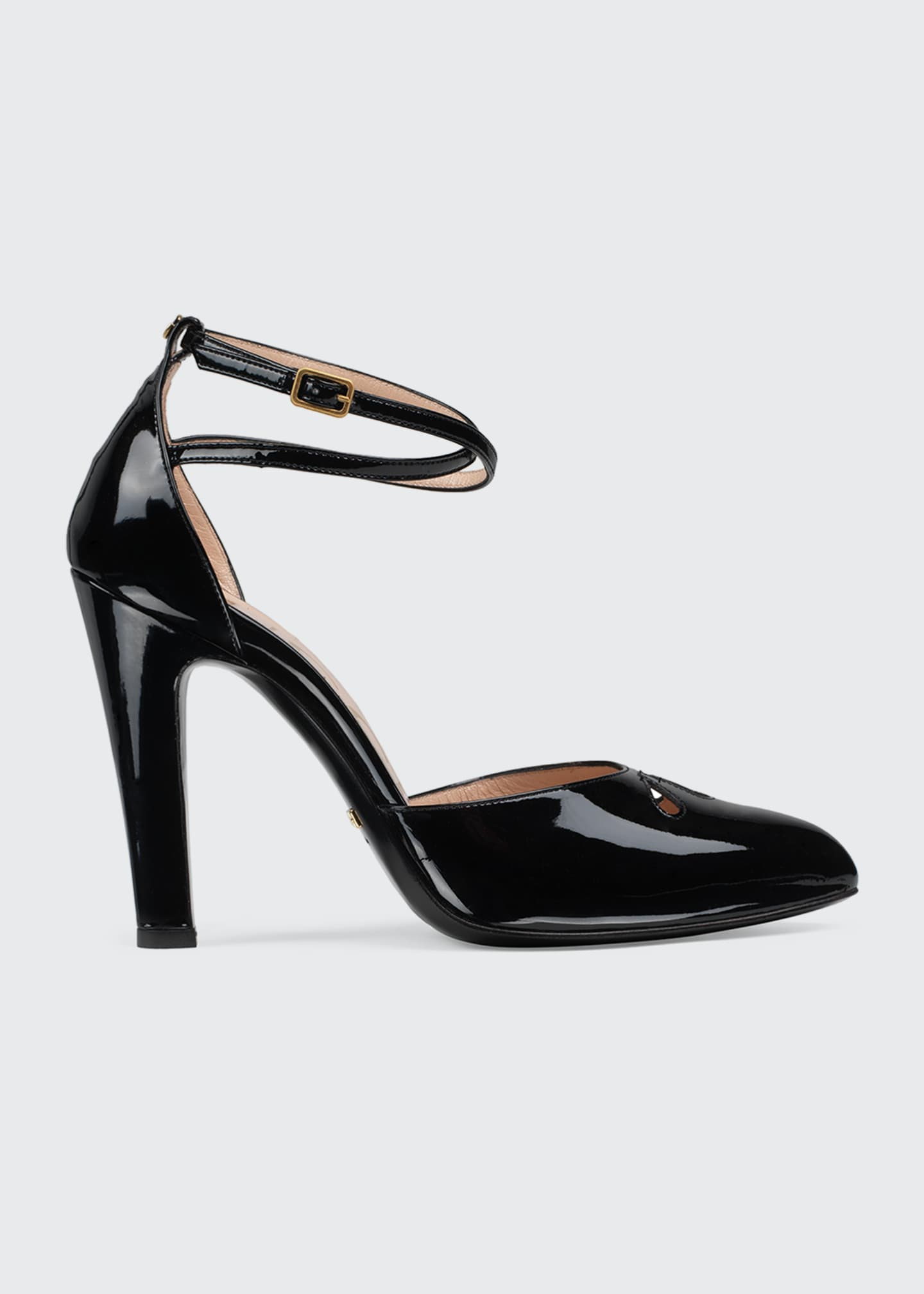 Gucci Indya 105mm Patent Ankle-Strap Pumps