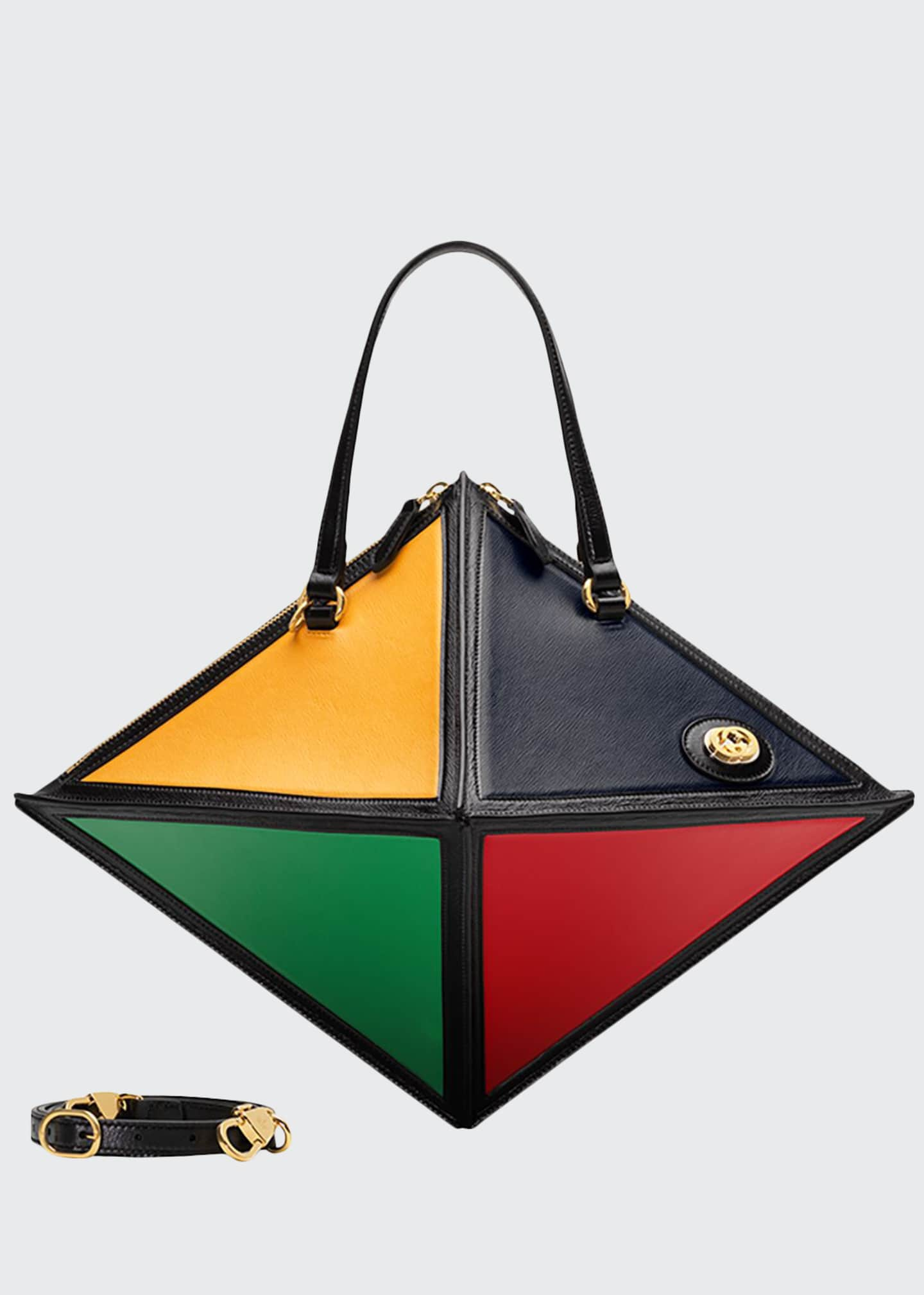 Gucci Geometrica Large Leather Top-Handle Bag