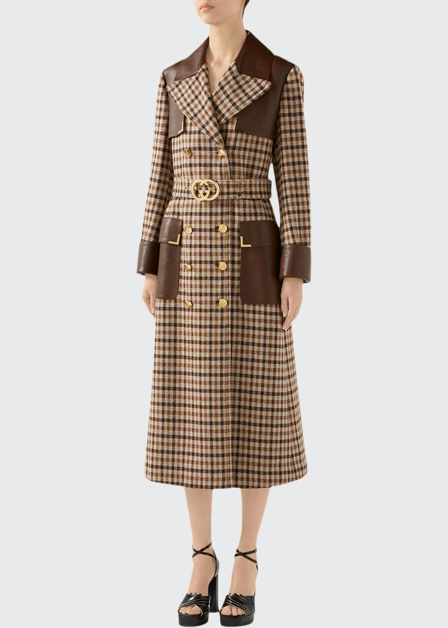 Gucci Belted Checked-Wool Trench Coat