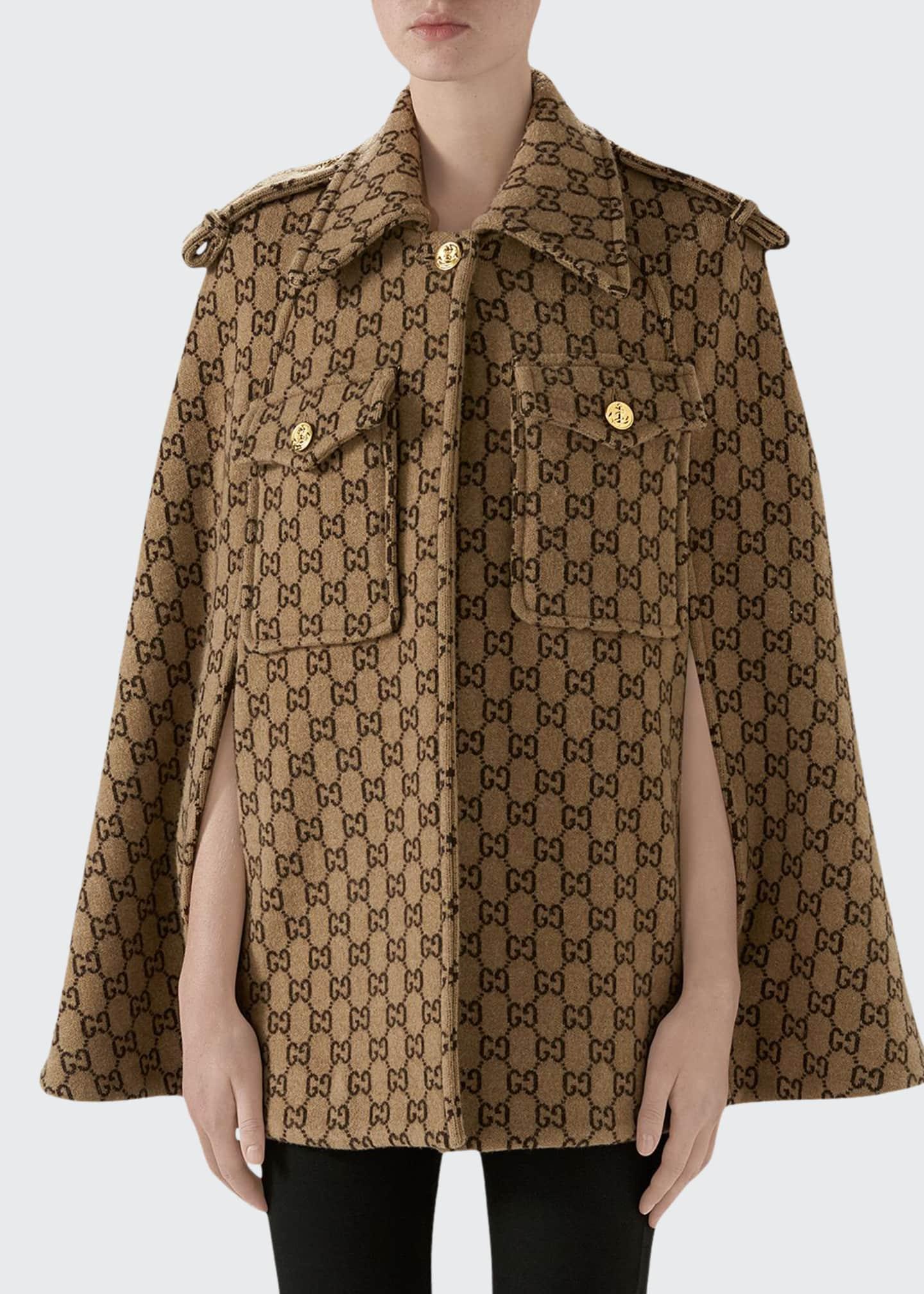 Gucci GG-Knit Wool Cape Jacket