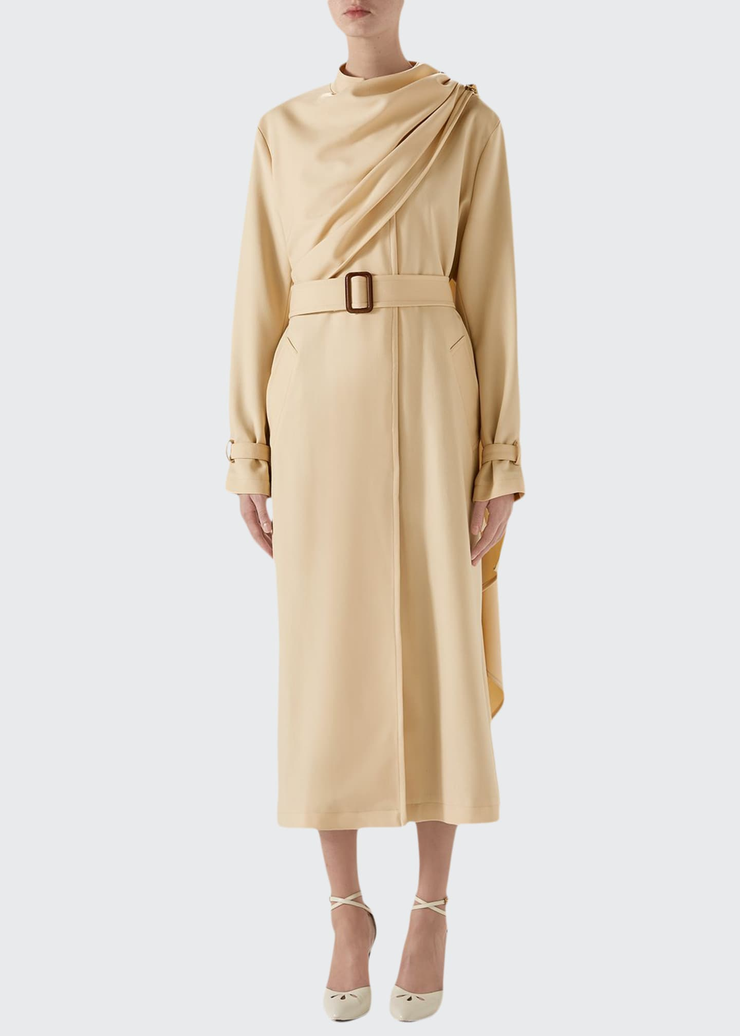 Image 1 of 4: Wool Coat with Draped Scarf
