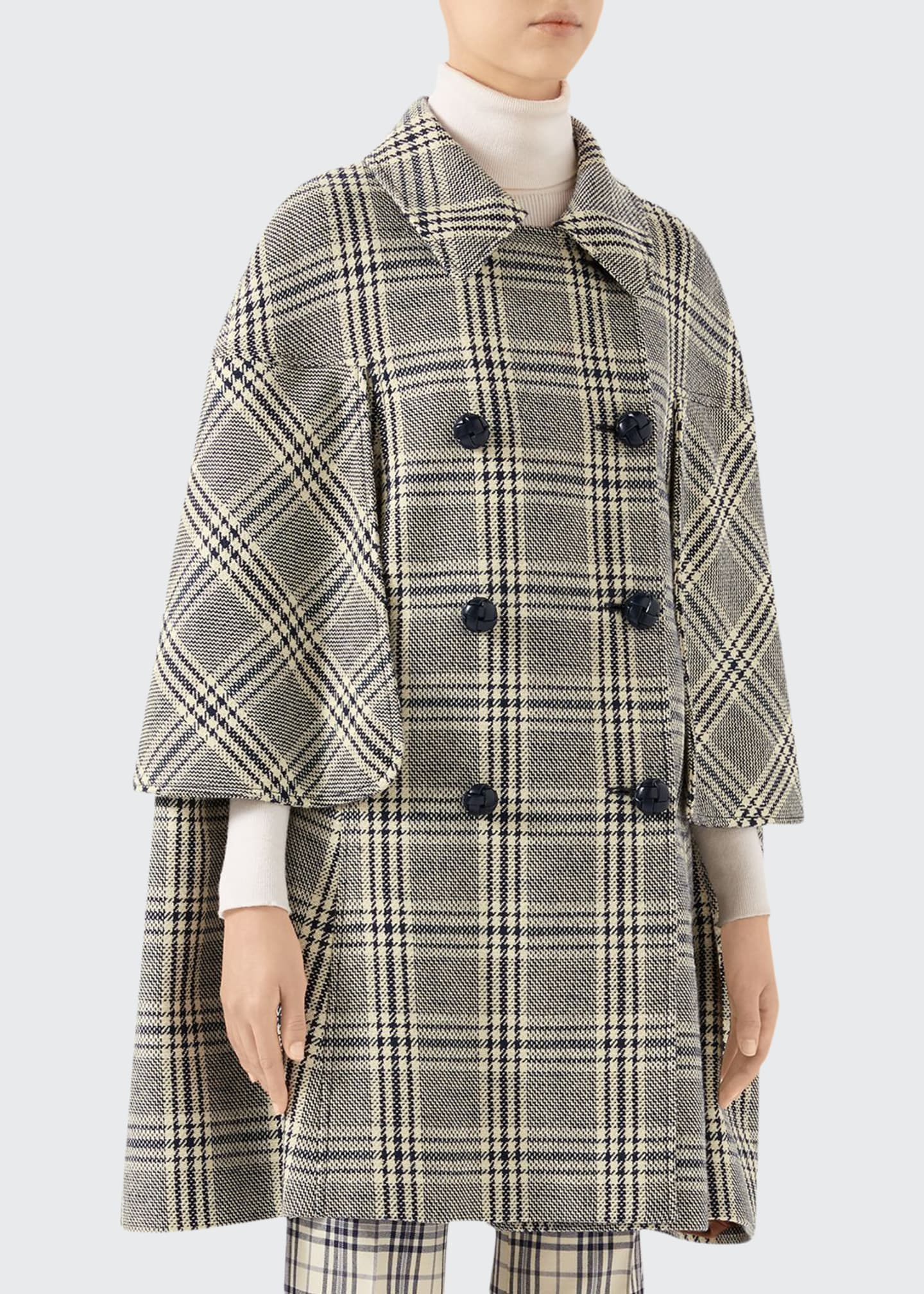 Gucci Checked Wool Cape Coat