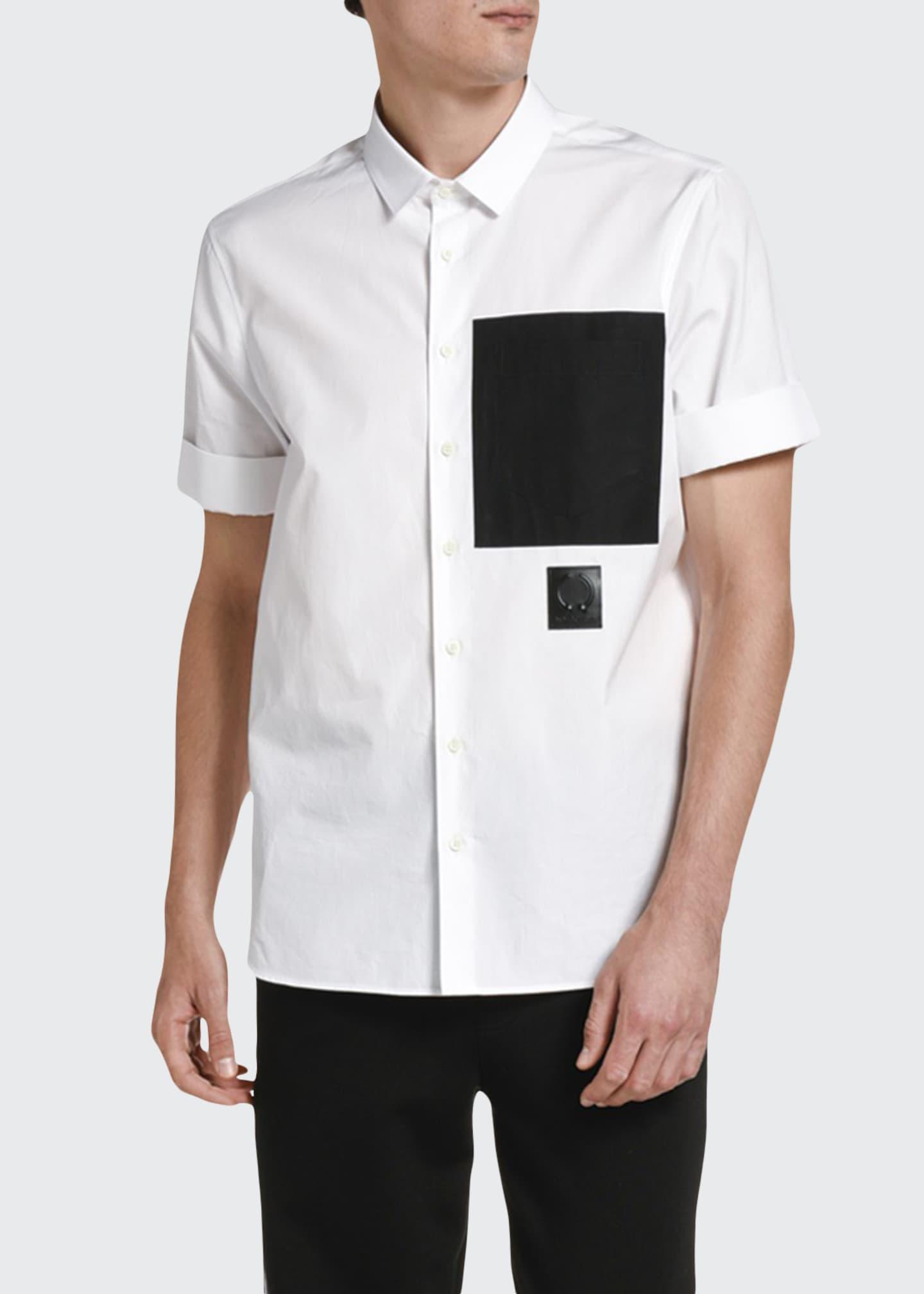 Neil Barrett Men's Large Contrast-Pocket Cotton Sport Shirt