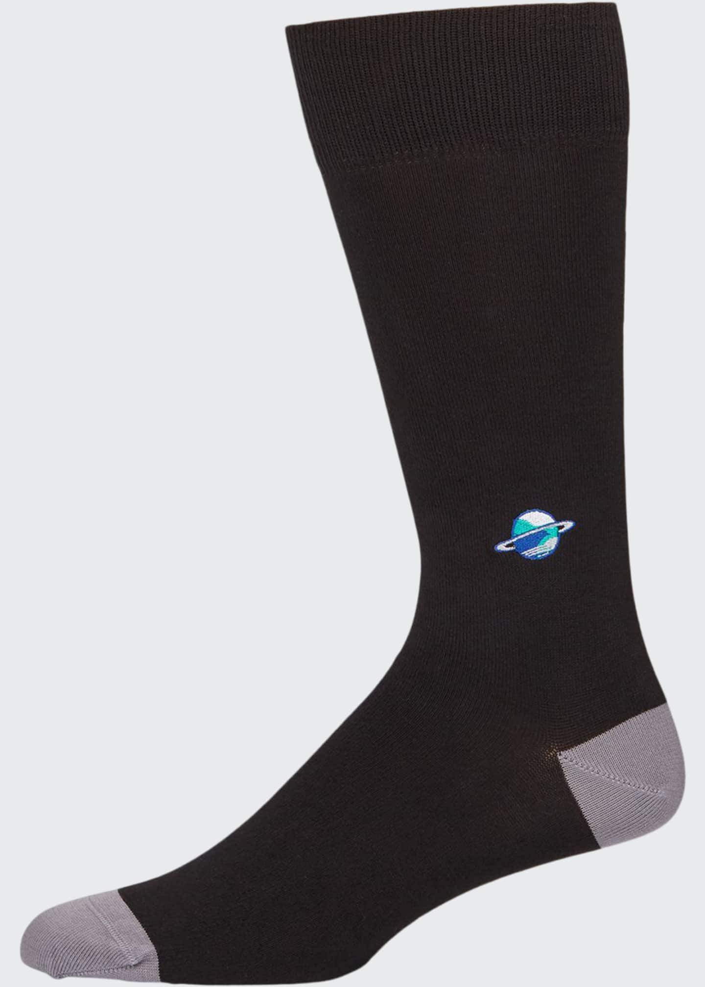 Image 1 of 1: Men's Embroidered Planet Knit Socks