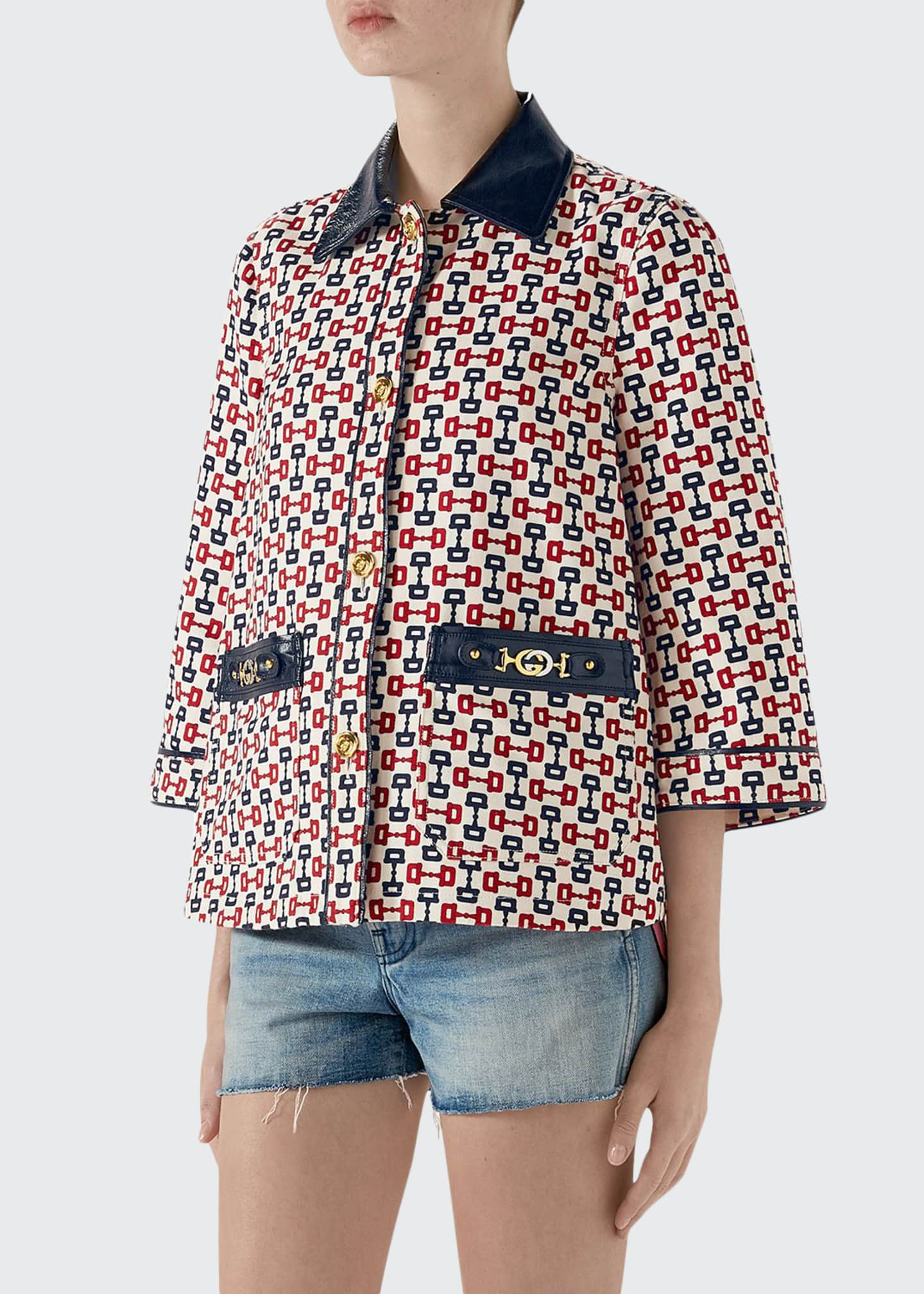 Gucci Horsebit-Print Swing Cape Jacket