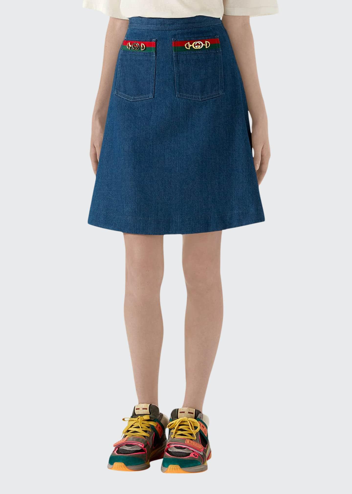 Gucci Dark Denim A-Line Skirt With Web Details