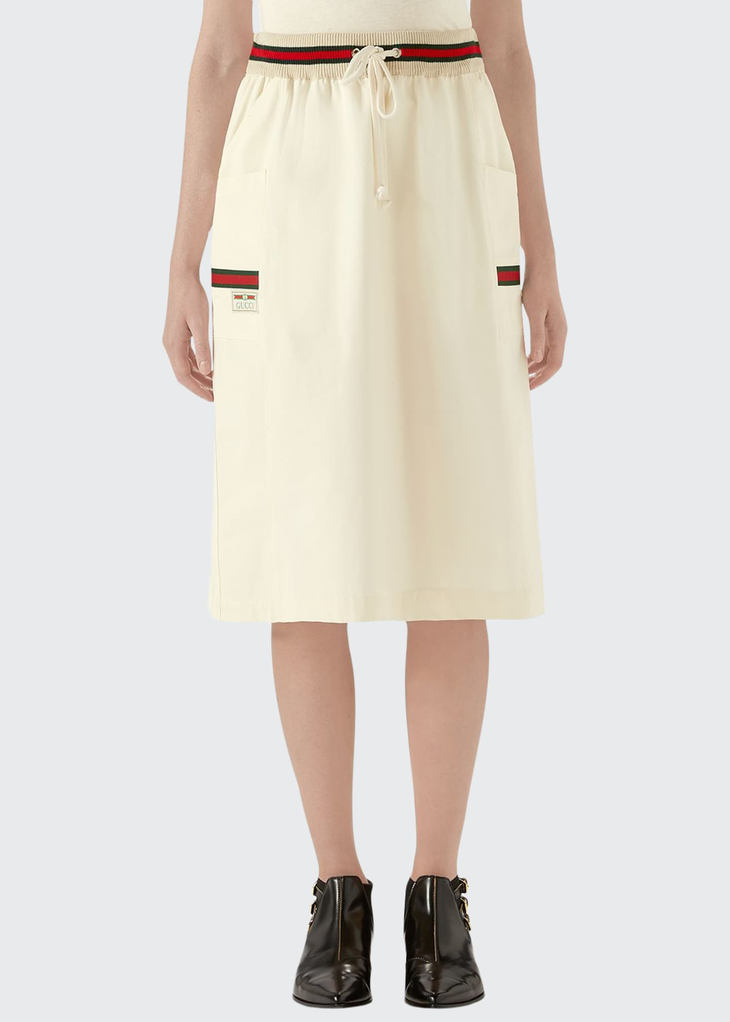 Gucci Cotton Panama Drawstring Sporty Skirt