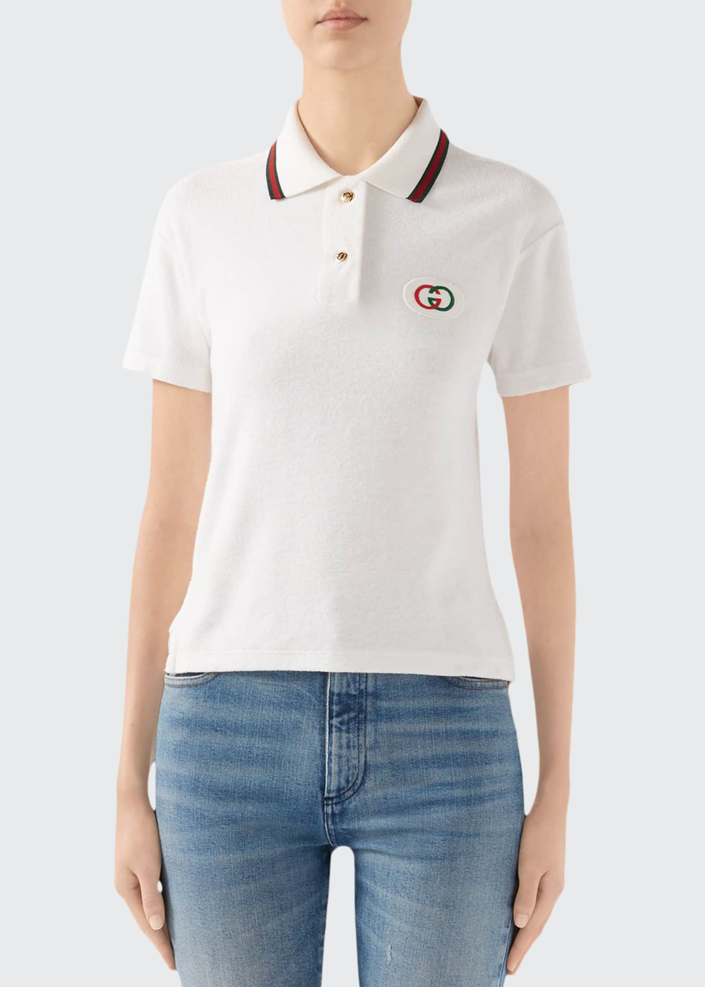 Image 1 of 4: Short-Sleeve Terry Cloth Tennis Polo Top