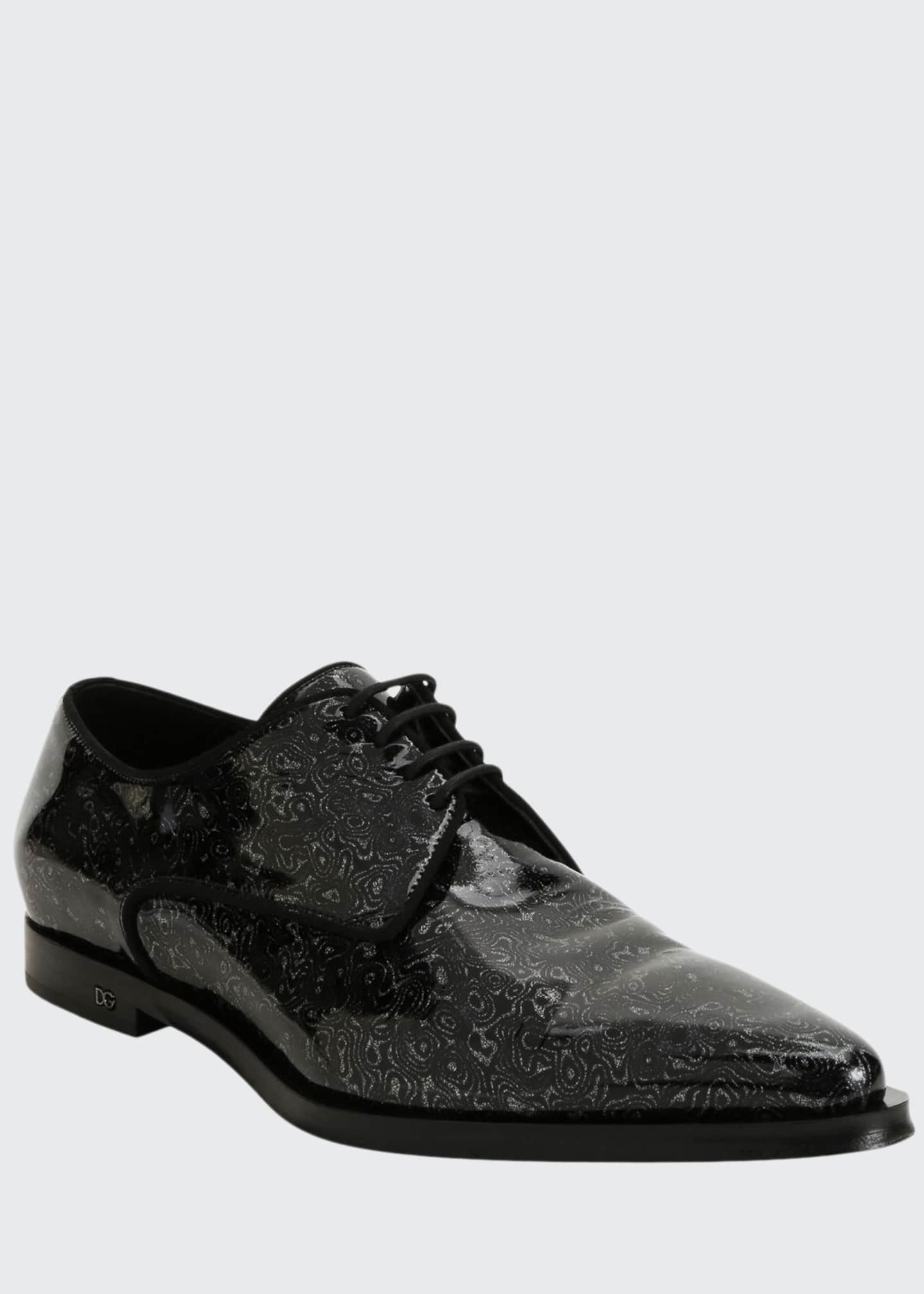 Image 1 of 4: Men's Printed Patent Leather Point-Toe Derby Shoes