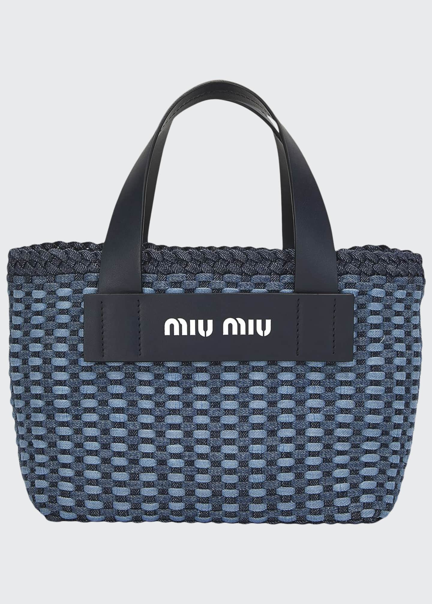 Miu Miu Inctreccio Denim Tote Bag