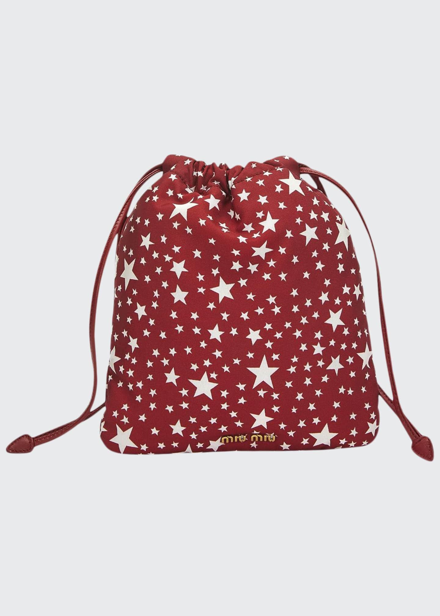 Miu Miu Faille Stelle Drawstring Pouch Bag