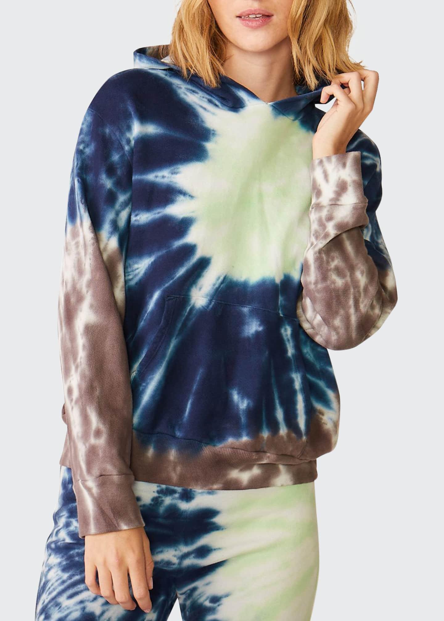Monrow Sun Burst Tie Dye Relaxed Pullover Hoodie