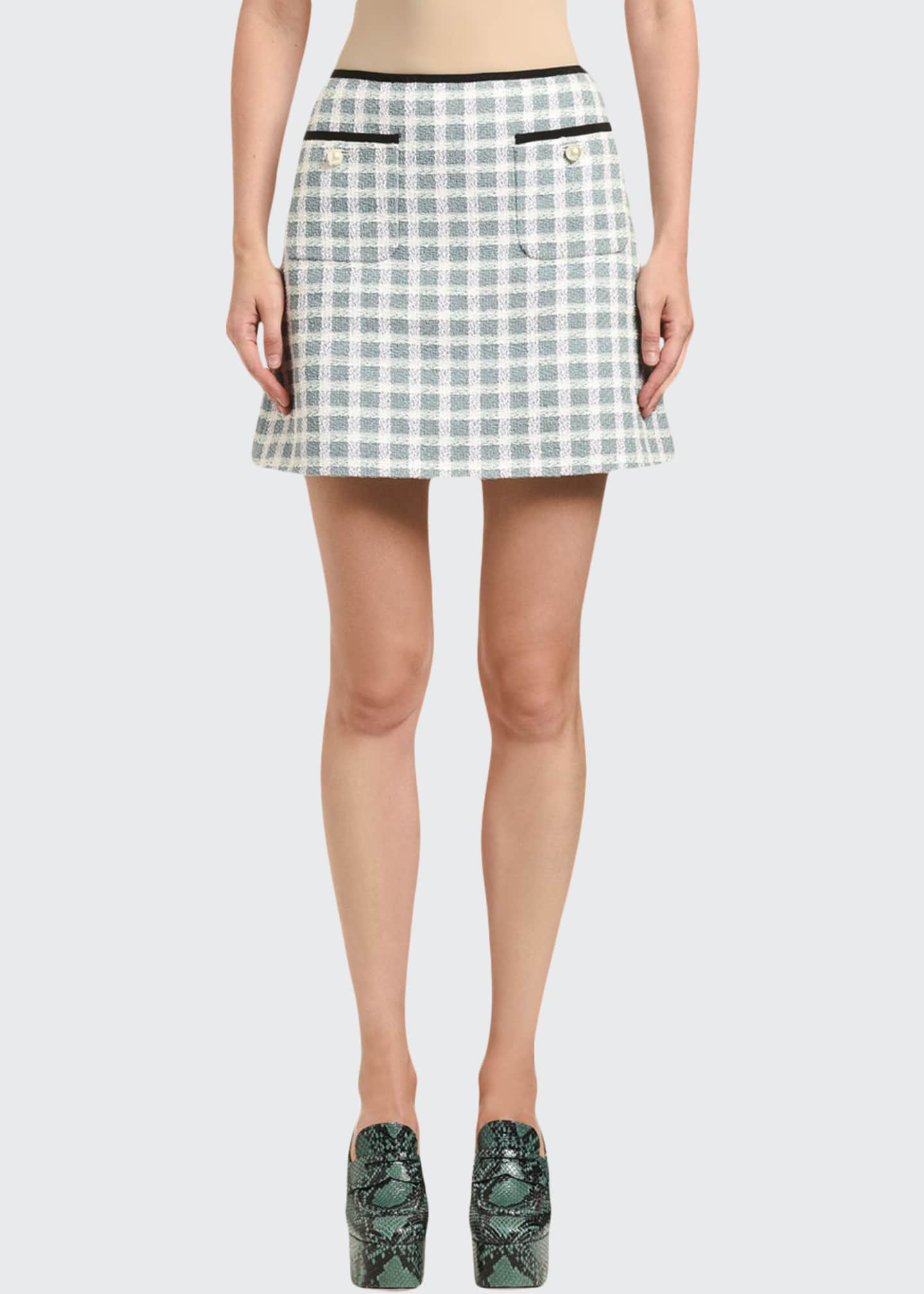Image 1 of 2: Gonne Tweed Plaid Mini Skirt w/ Patch Pockets