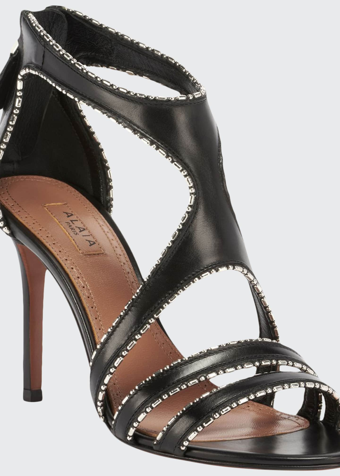 Image 1 of 4: Leather & Metal Stiletto Sandals