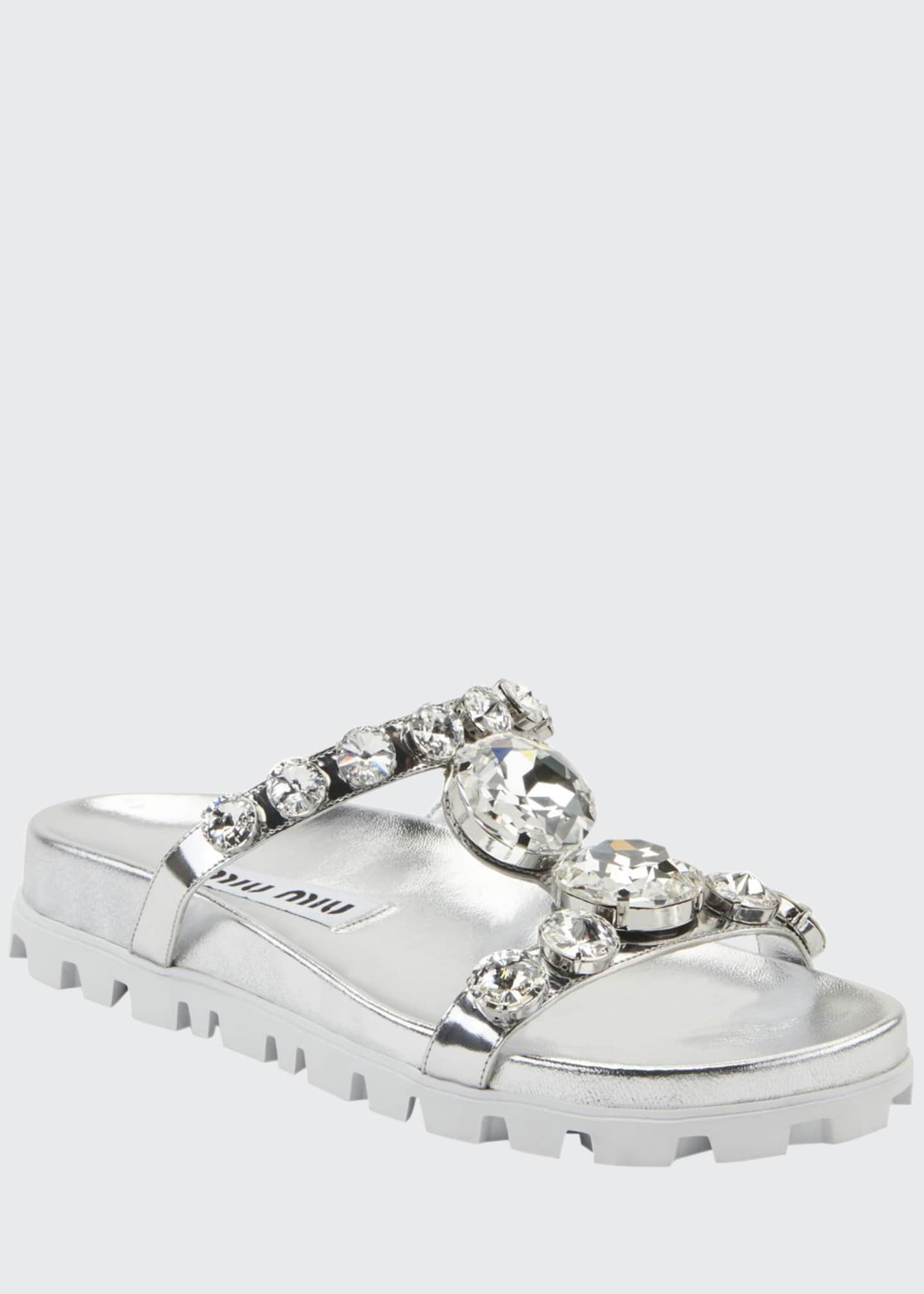 Image 1 of 2: Crystal Metallic Slide Sandals