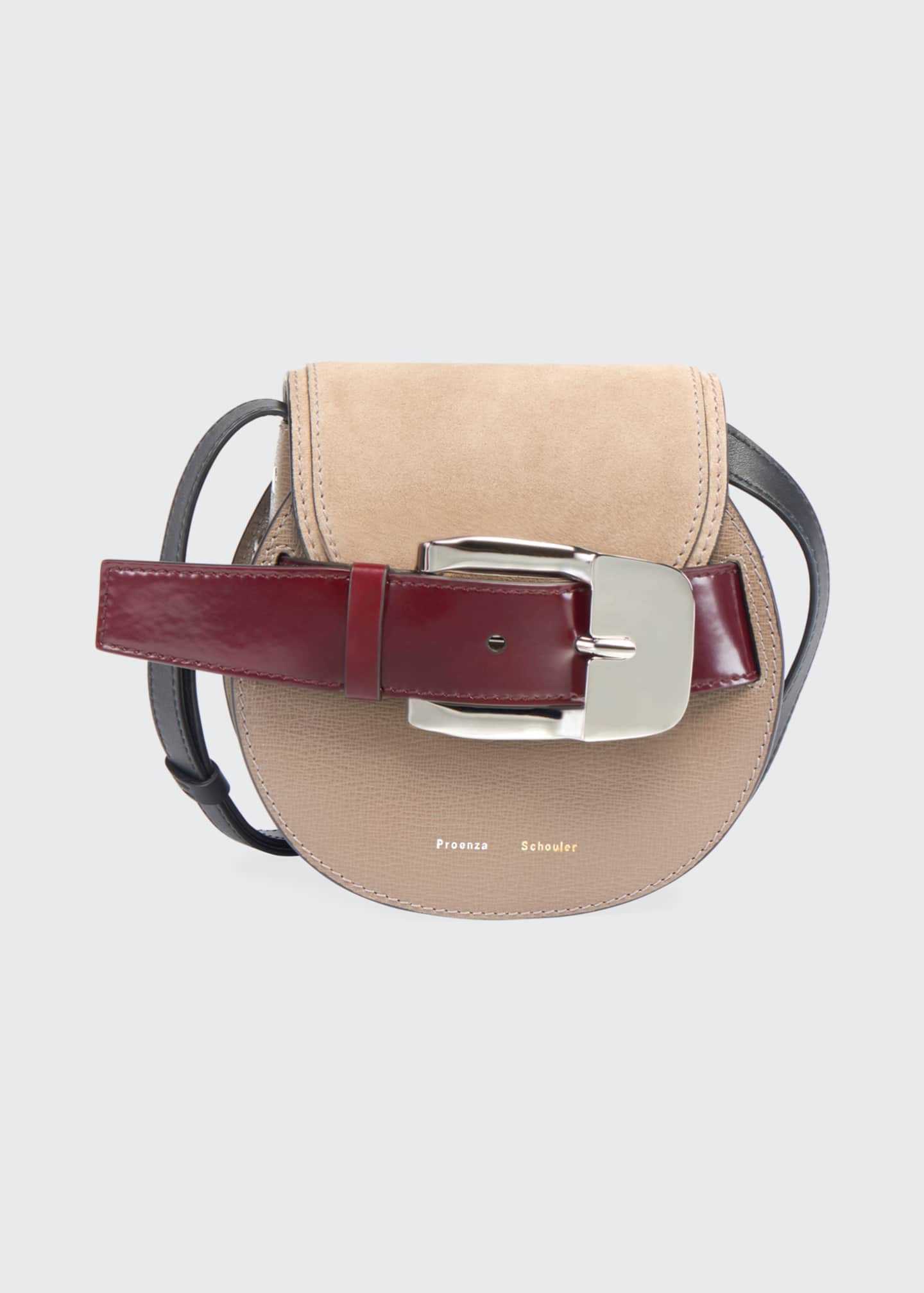 Image 1 of 3: Buckle Mini Crossbody Bag, Taupe