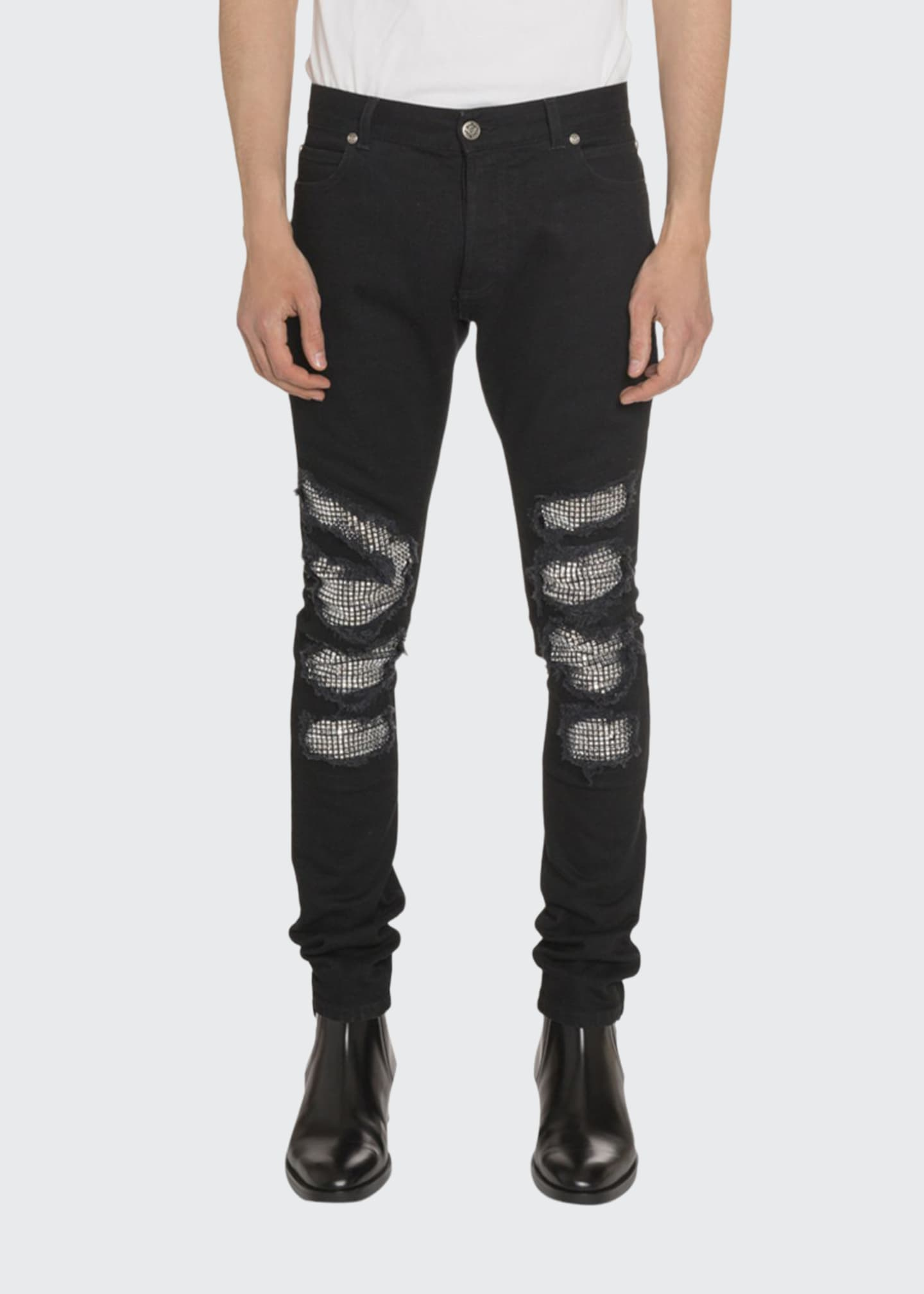 Image 1 of 2: Men's Slim-Fit Distressed Jeans