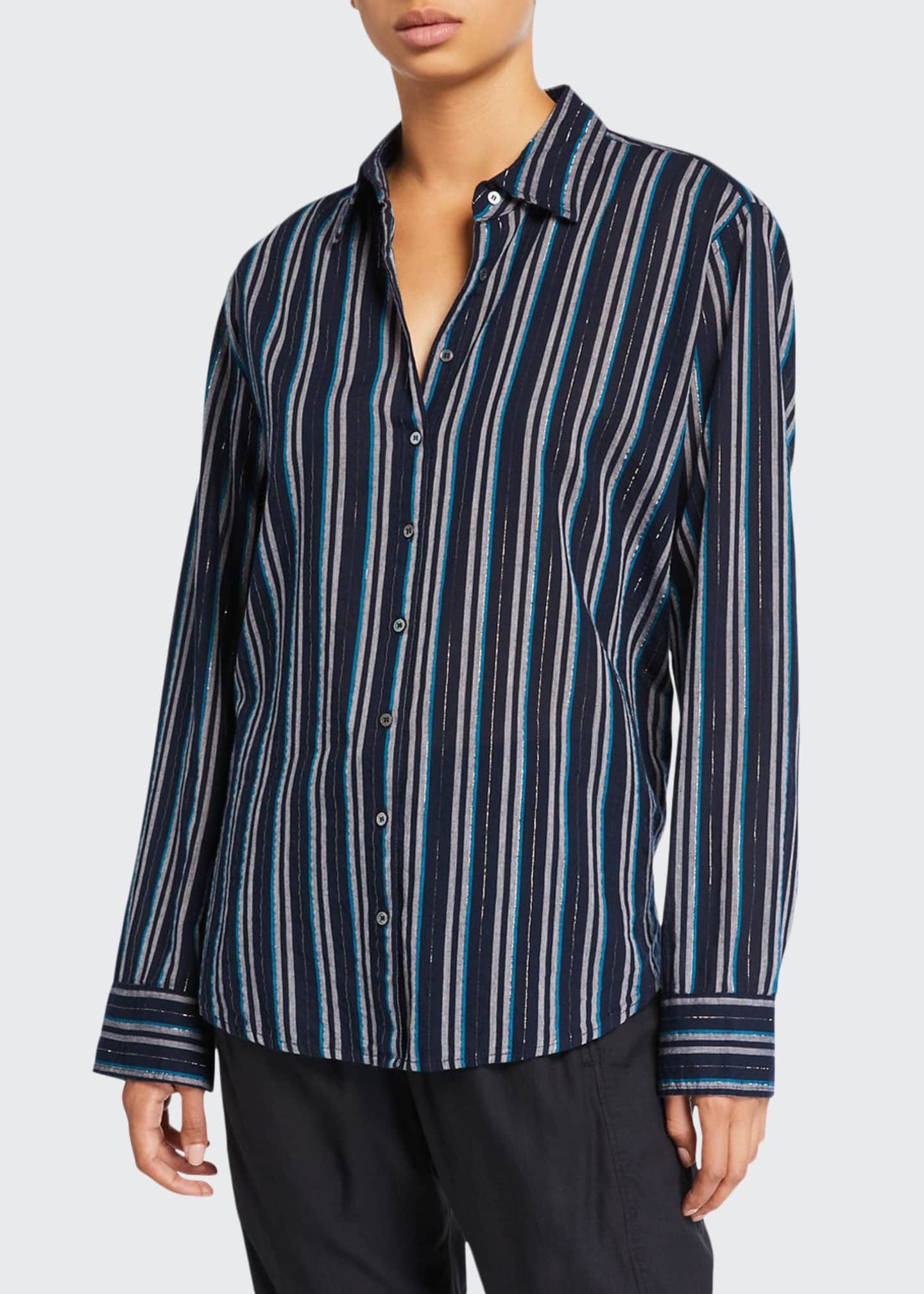 Image 1 of 2: Beau Striped Lounge Shirt